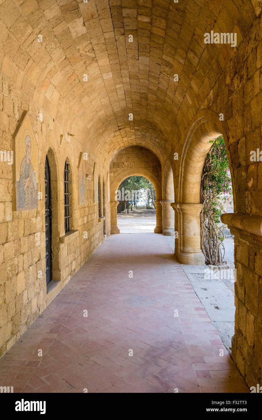 The 15th century Monastery of Filerimos Rhodes Dodecanese Greece Europe - Stock Image