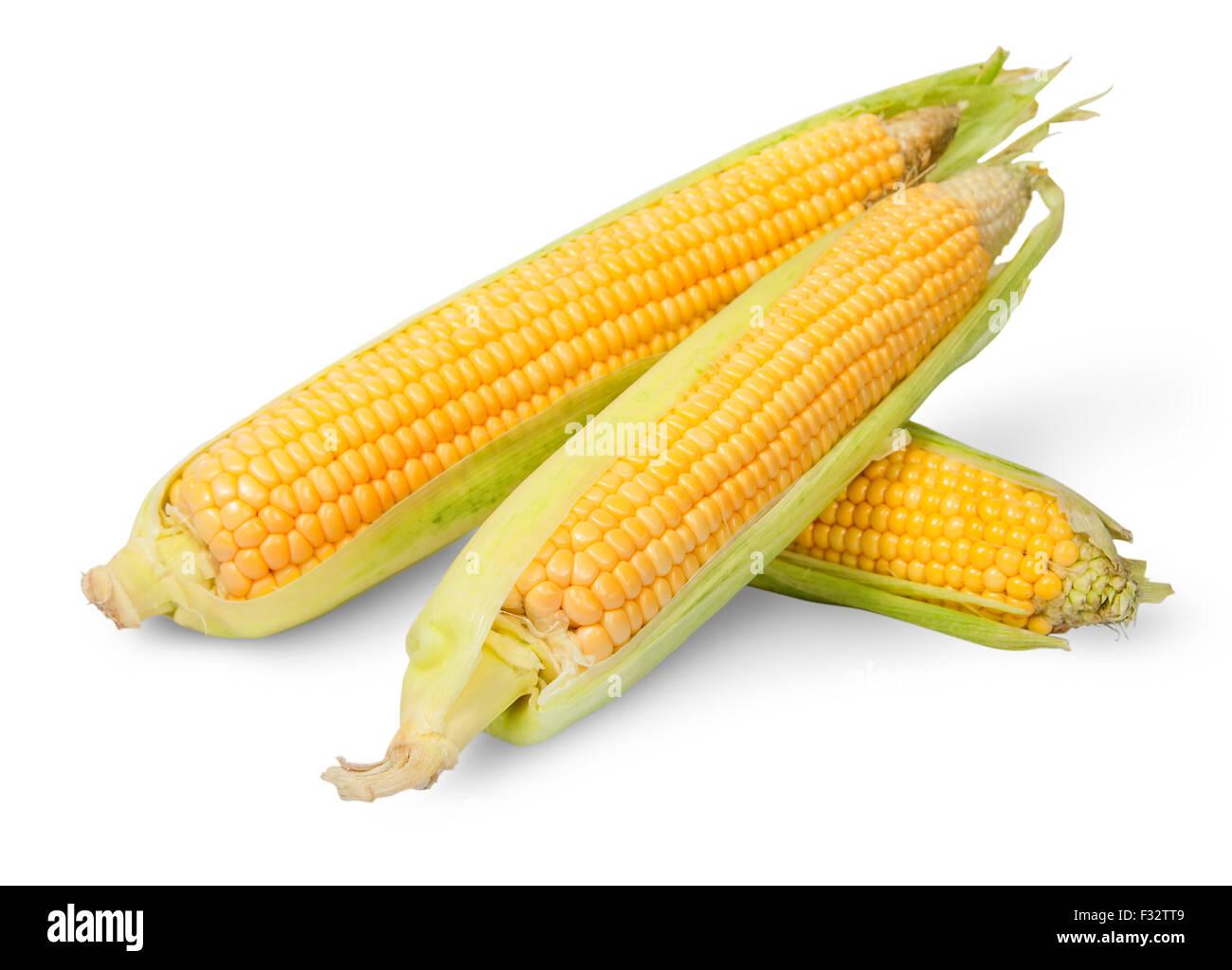 Three partially peeled corn cob lying cross isolated on white background - Stock Image