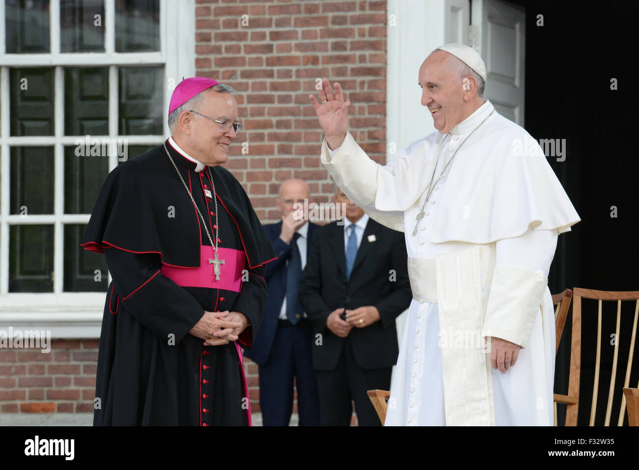 Pope Francis accompanied by Archbishop Charles Chaput address crowds gathered at Independence Hall September 26, - Stock Image