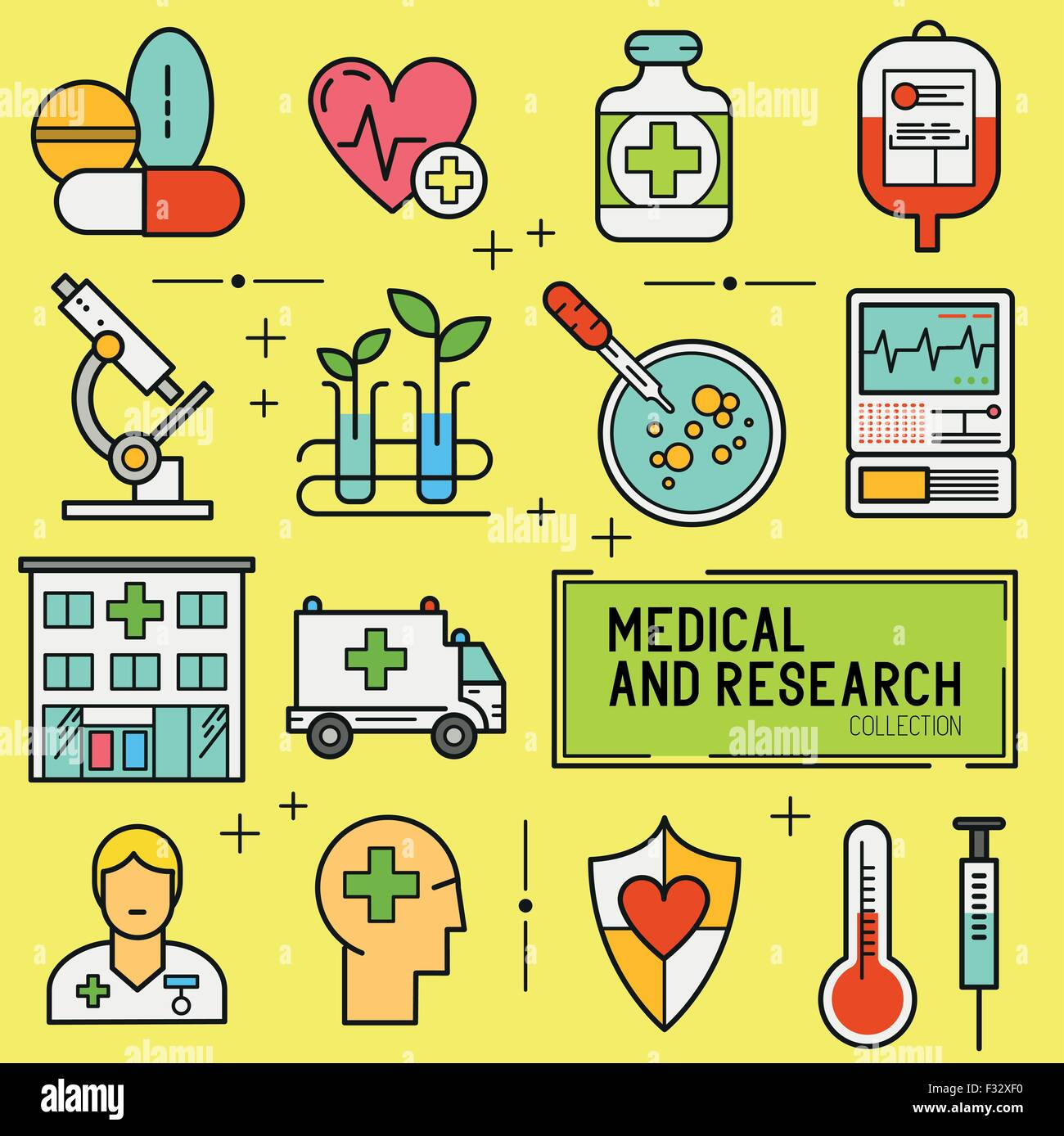 Medical and Research Icon Set. A collection of medical icons including, equipment, people and medical tools. - Stock Image