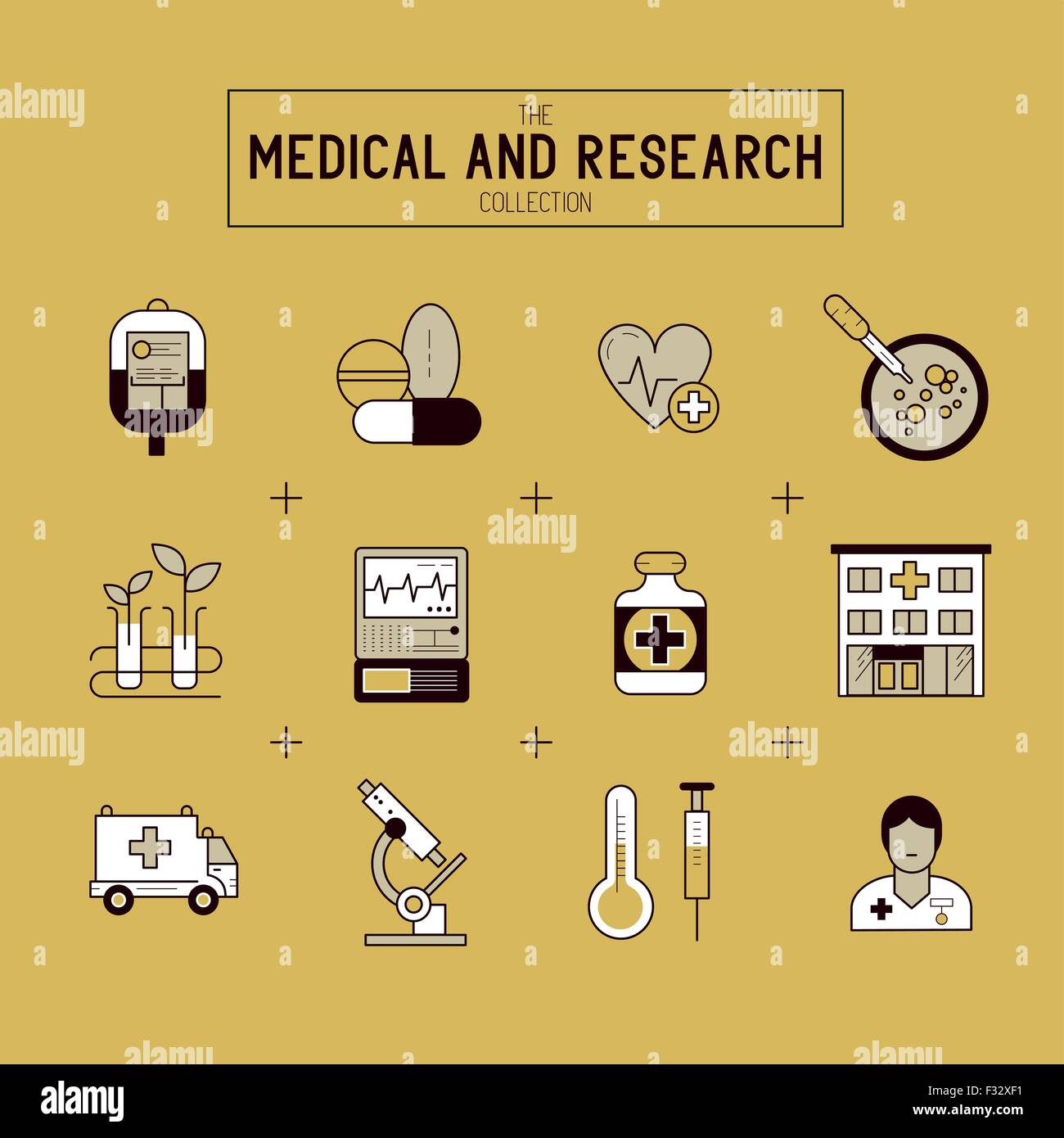 Medical and Research Icon Set. A collection of gold medical icons including, equipment, people and medical tools. - Stock Image