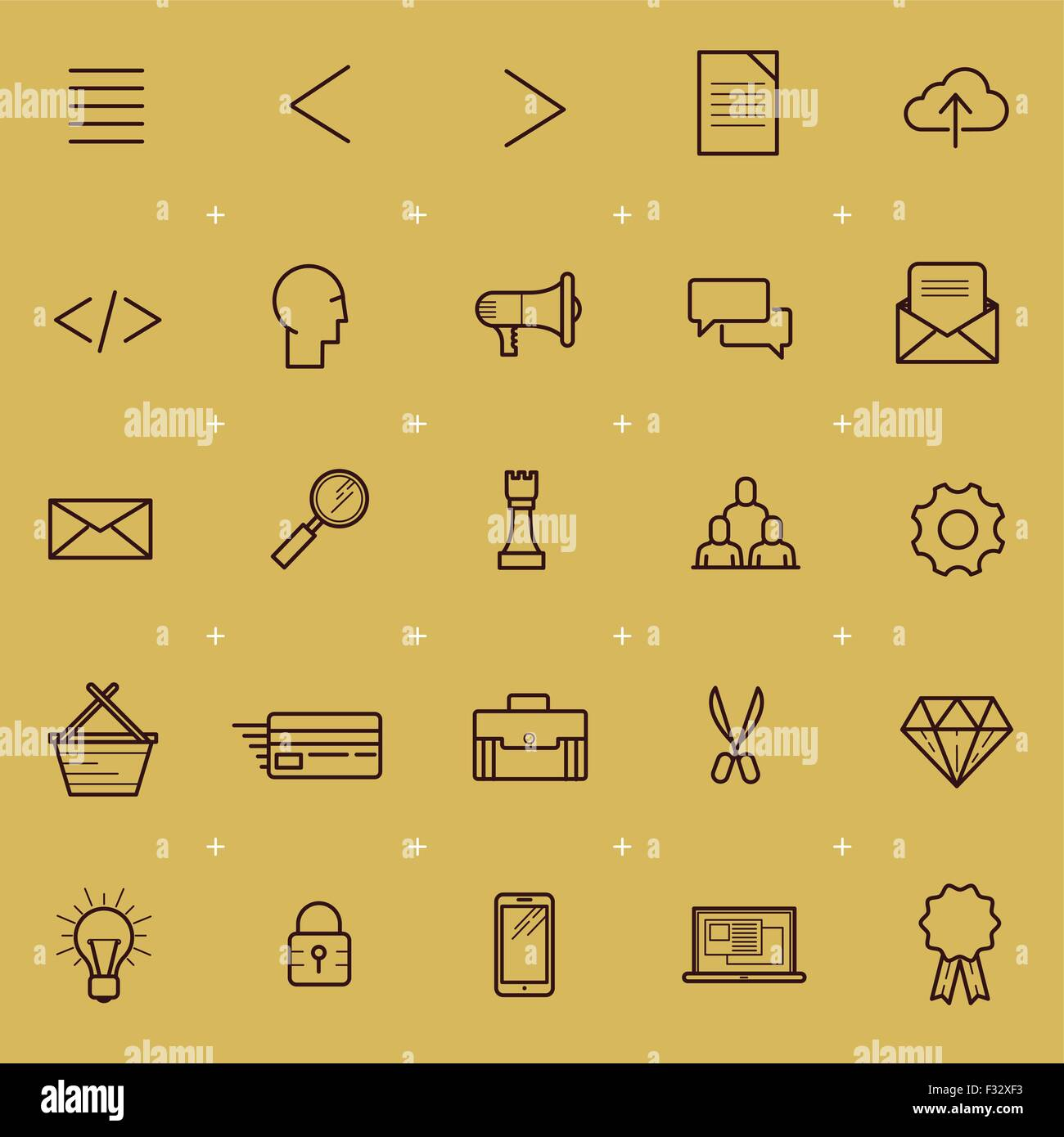 Web and Interface Icon Set. A collection of Internet and navigation icons. Vector illustration. - Stock Image