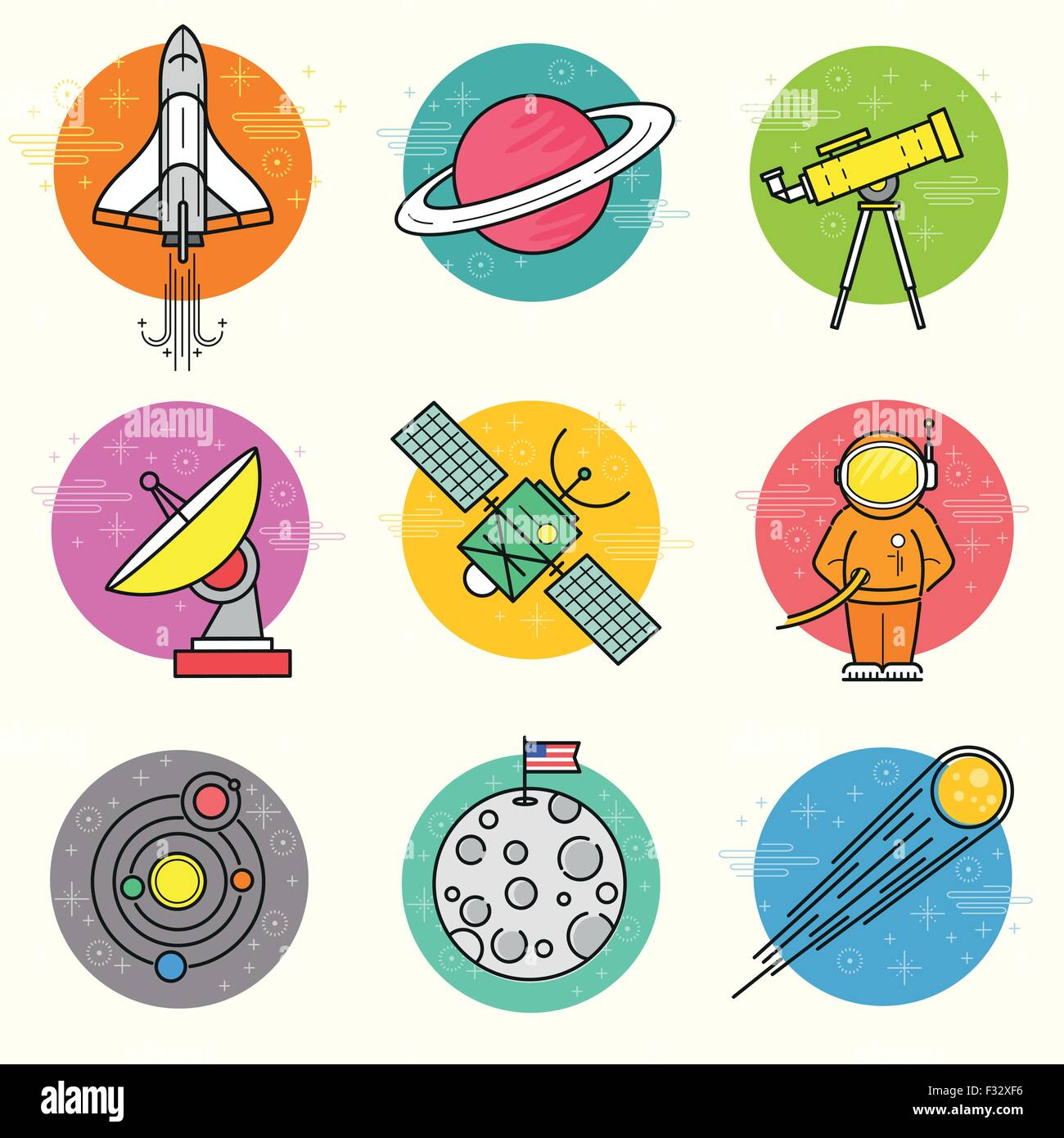 Astronomy Vector Icon Set. A collection of space themed line icons including a planet, rocket, spaceman and solar - Stock Image