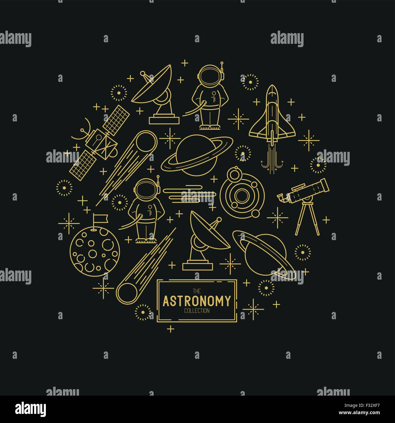 Astronomy Gold Vector Icon Set. A collection of space themed line icons including a planet, rocket, spaceman and - Stock Image
