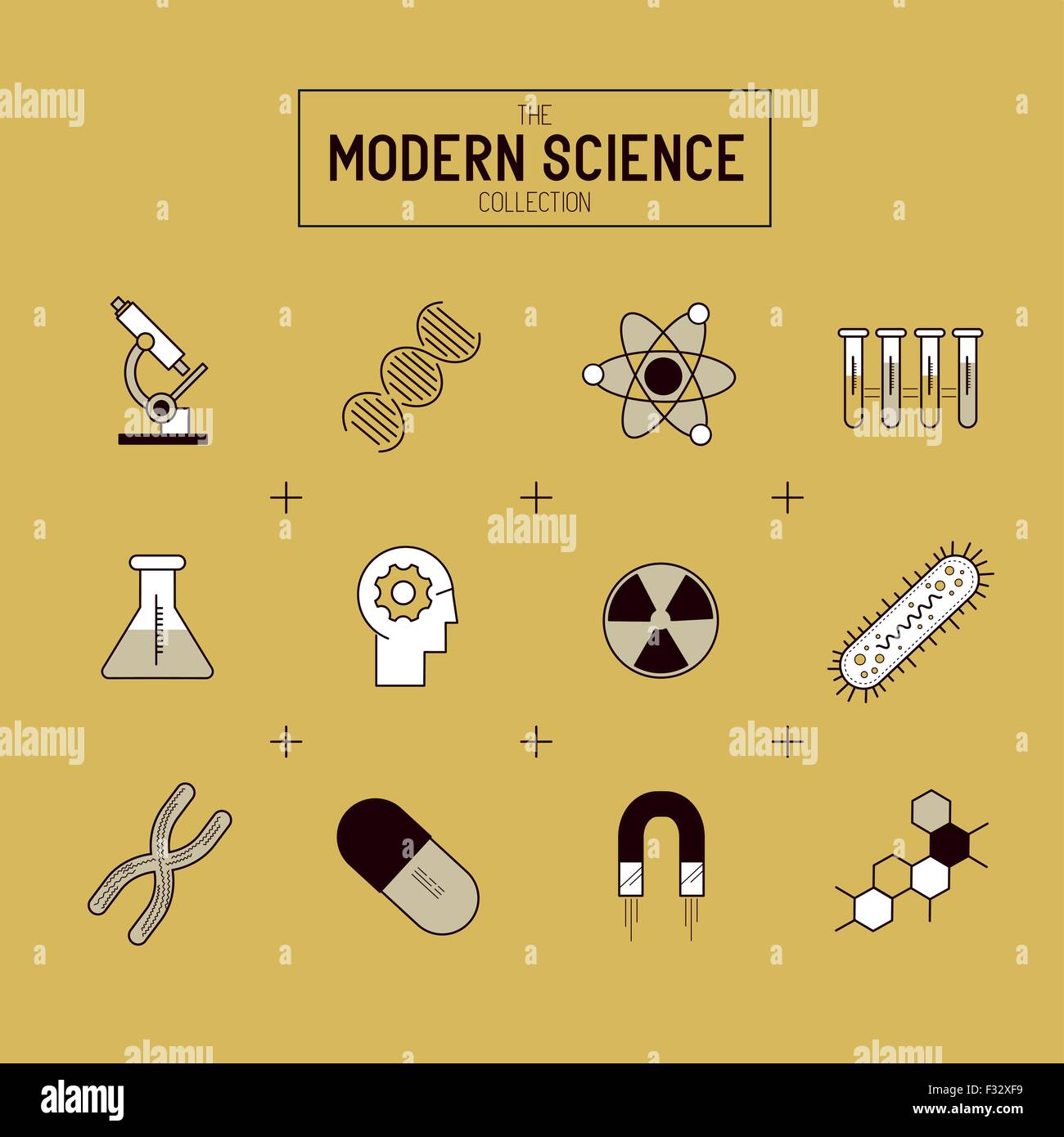 Science Gold Vector Icon Set A Collection Of Gold Science Themed