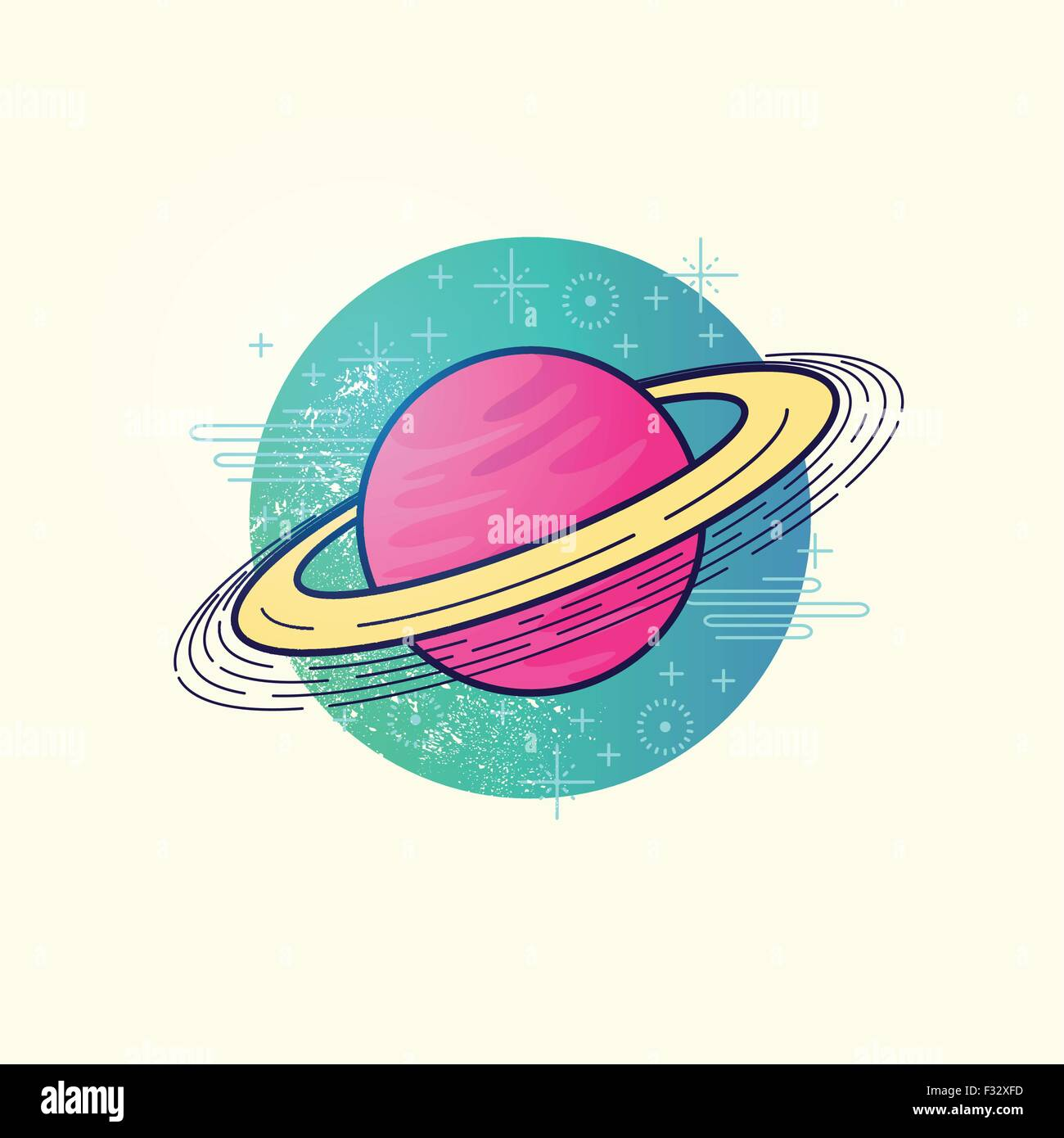 Space Planet Vector. A large gas planet with a ring system. vector illustration - Stock Image