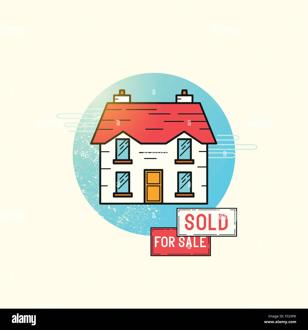 Moving Home Icon Vector. A detached house with for sale and sold sign posts. vector illustration - Stock Vector