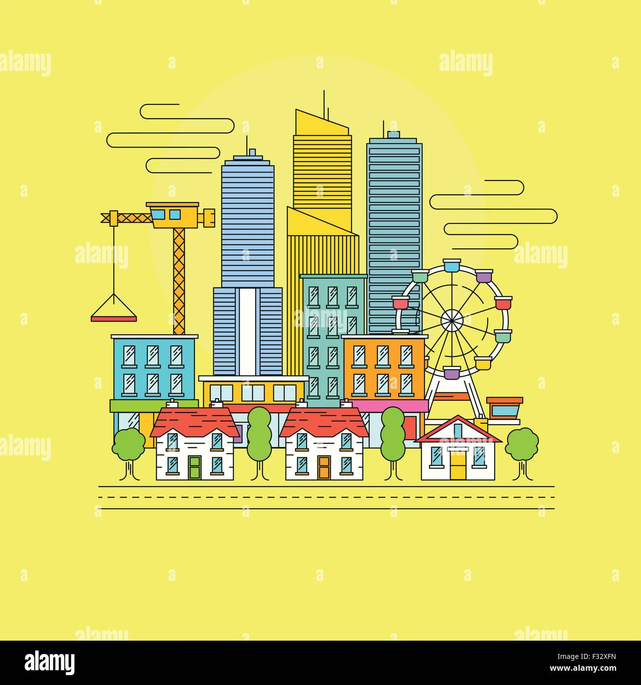 Vector Cityscape. A busy city scene with skyscrapers, retail shops and town houses. Vector illustration - Stock Vector