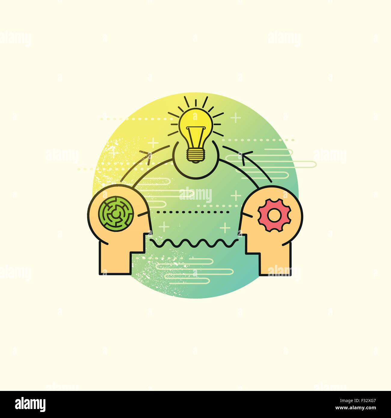 Business Problem Solving Vector. two people working together to solve a problem. Vector illustration. - Stock Vector