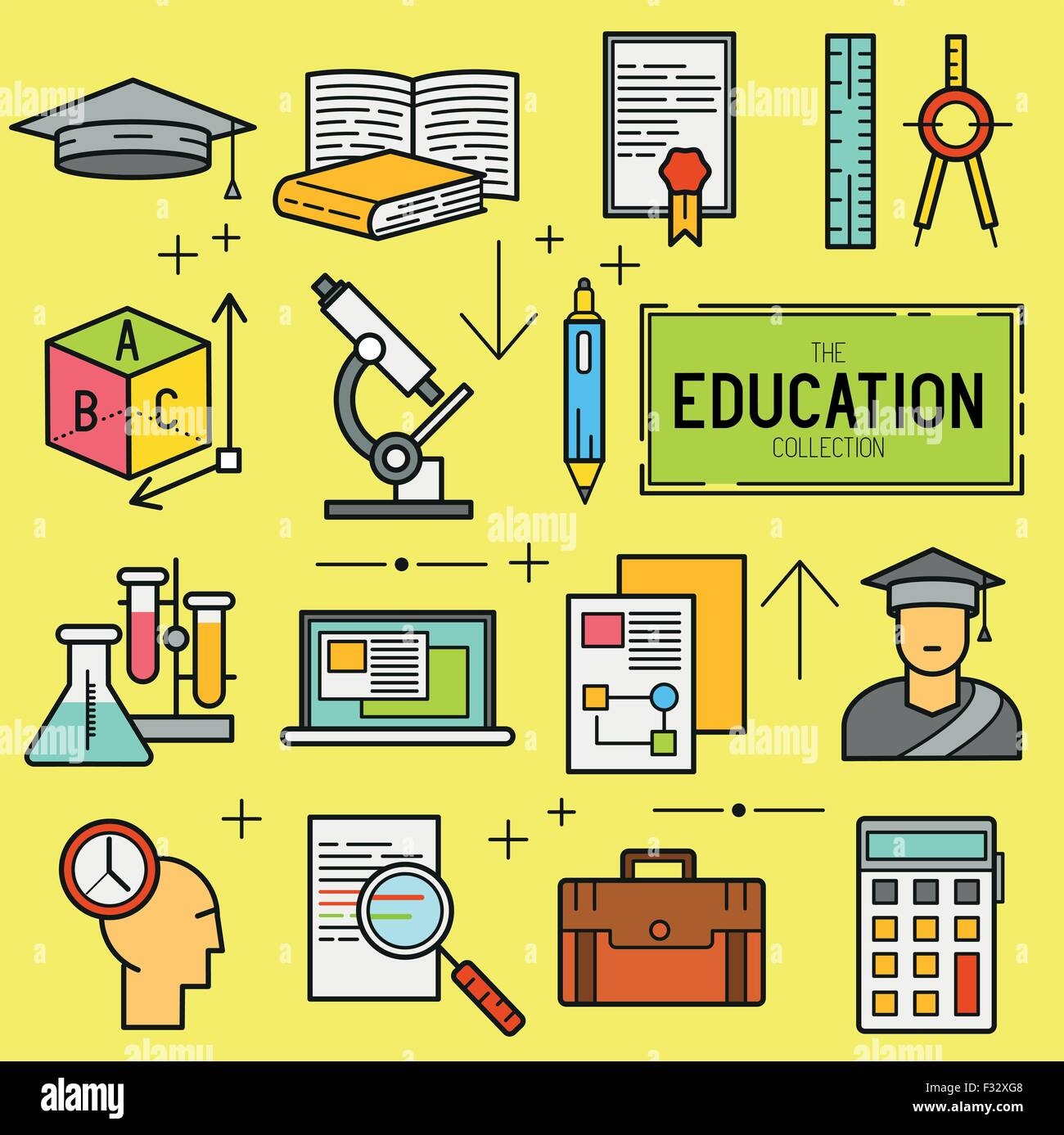 Education Vector Icon Set. a collection of study and research symbols including objects and tools. Vector illustration. Stock Vector