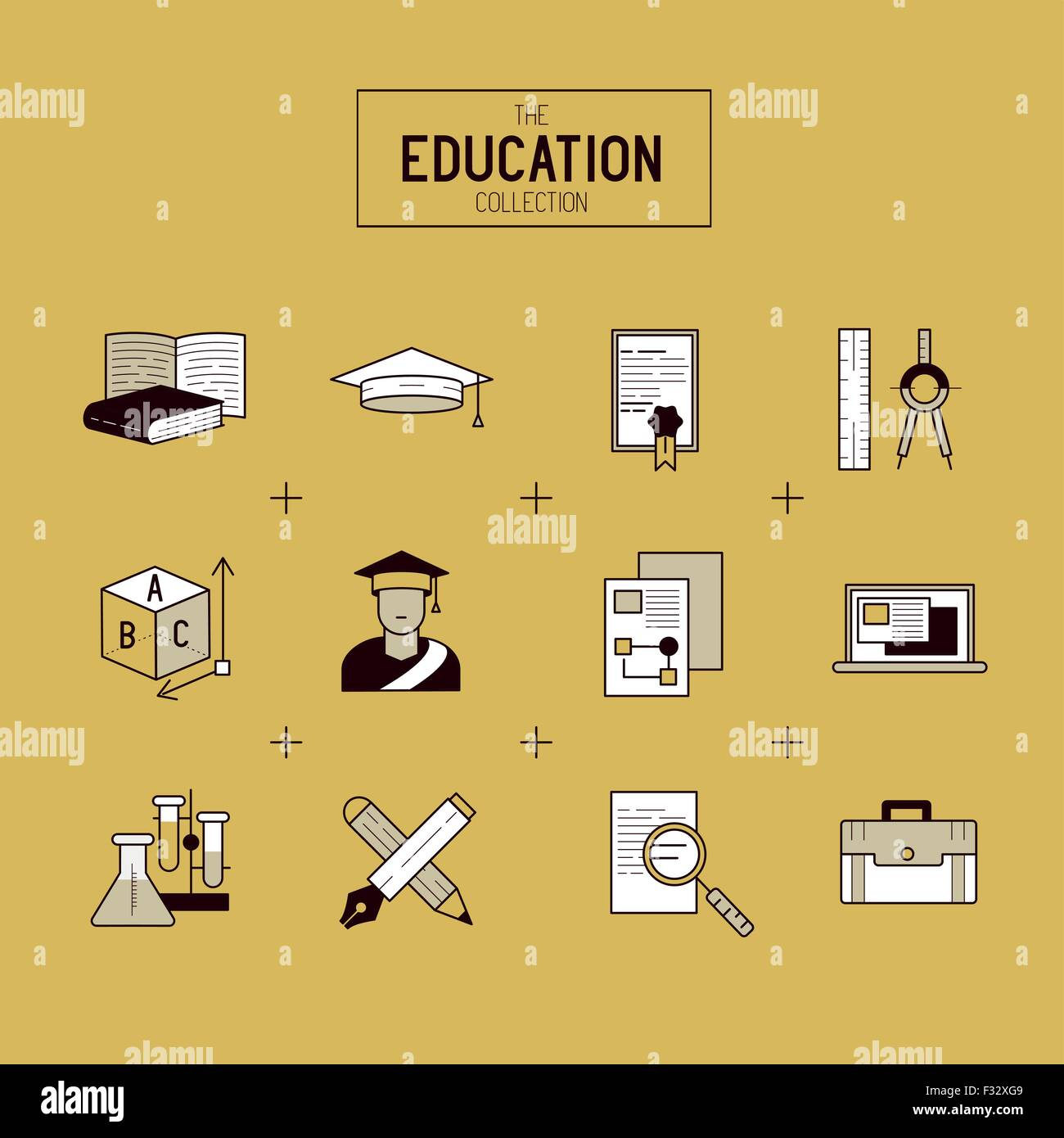 Education Vector Icon Set. a collection of gold study and research symbols including objects and tools. Vector illustration. Stock Vector