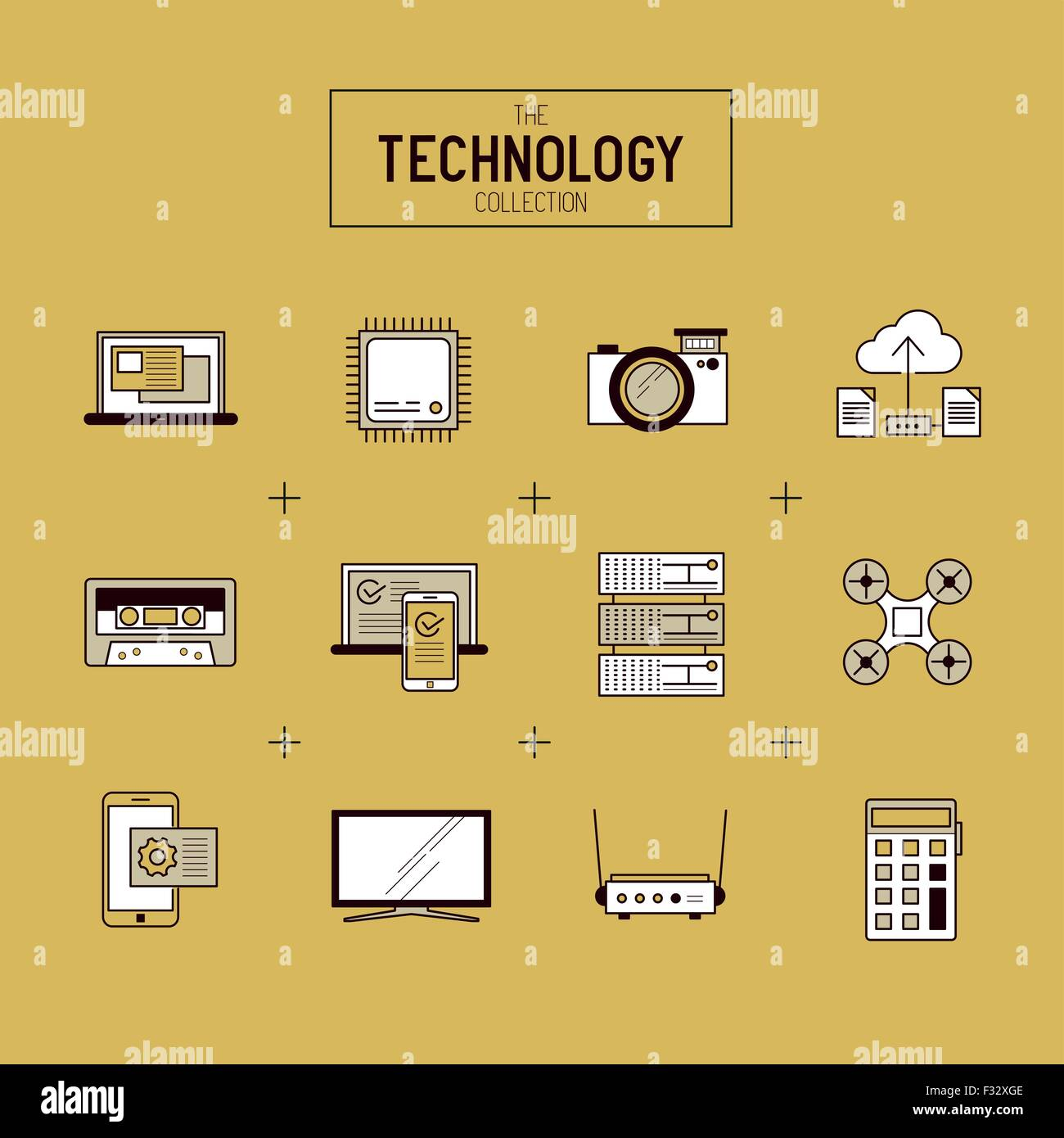 Technology Vector Icon Set. A collection of gold modern technology items including a CPU, drone, TV and mobile devices. - Stock Image