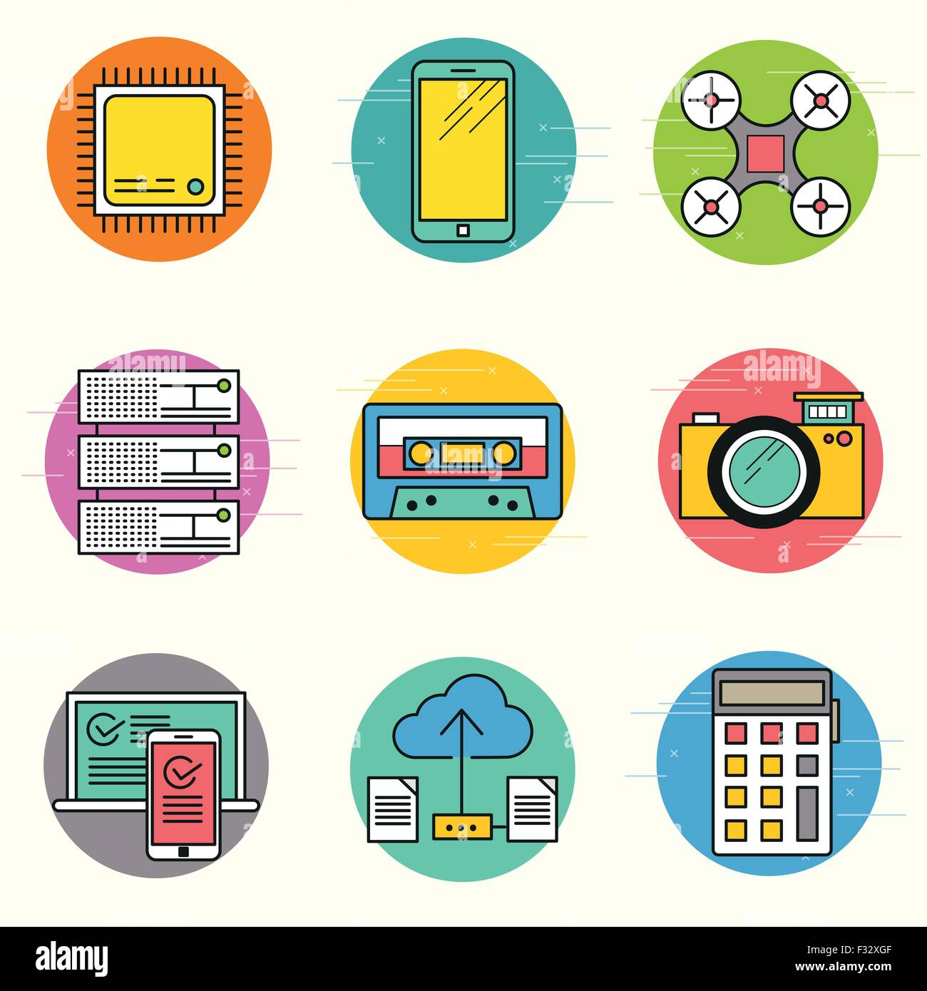Technology Vector Icon Set. A collection of modern technology items including a CPU, drone, servers and mobile devices. - Stock Image
