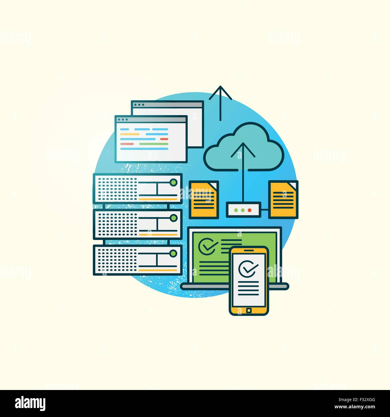 Big Data Vector. Storage and backing up of data driven applications on various platforms. Vector illustration. - Stock Image
