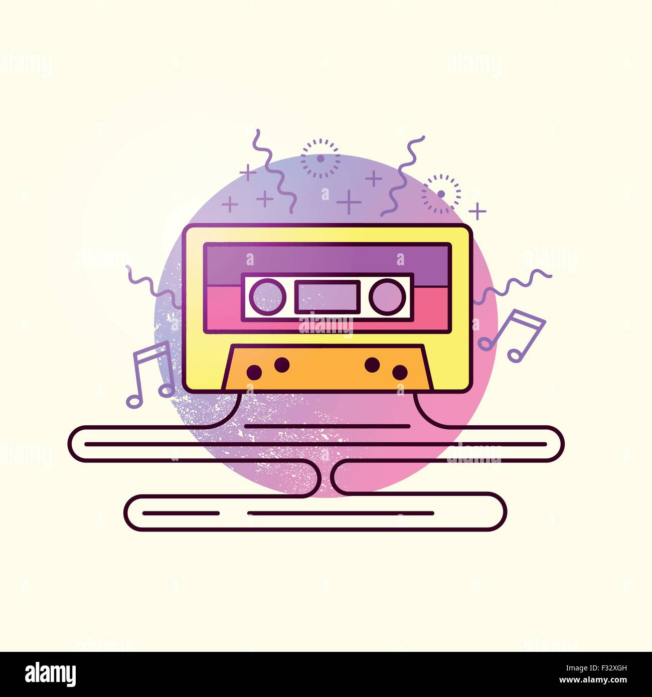 Audio Tape Cassette Vector. Retro mix tape, vector illustration. - Stock Image