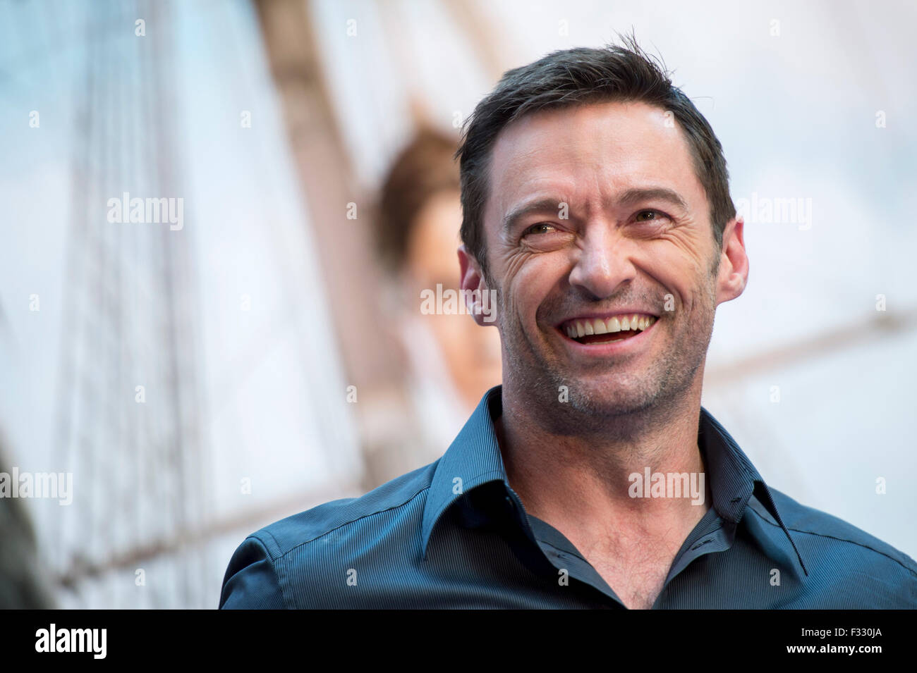 Hong Kong. 28th Sep, 2015. Hugh Jackman attends Times Square Hong Kong promotion for his new movie Pan Credit:  - Stock Image