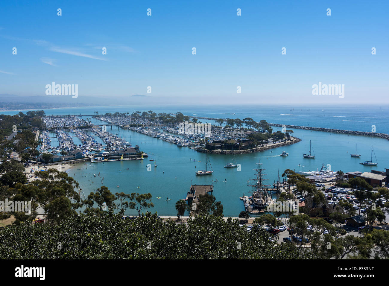 A wide angle shot of Dana Point harbor and marina, Dana Point, California, U.S.A. - Stock Image