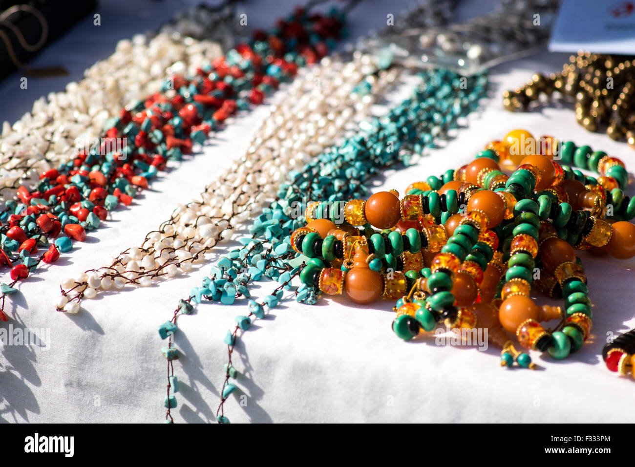 Examples of jewelry from Tibet. - Stock Image