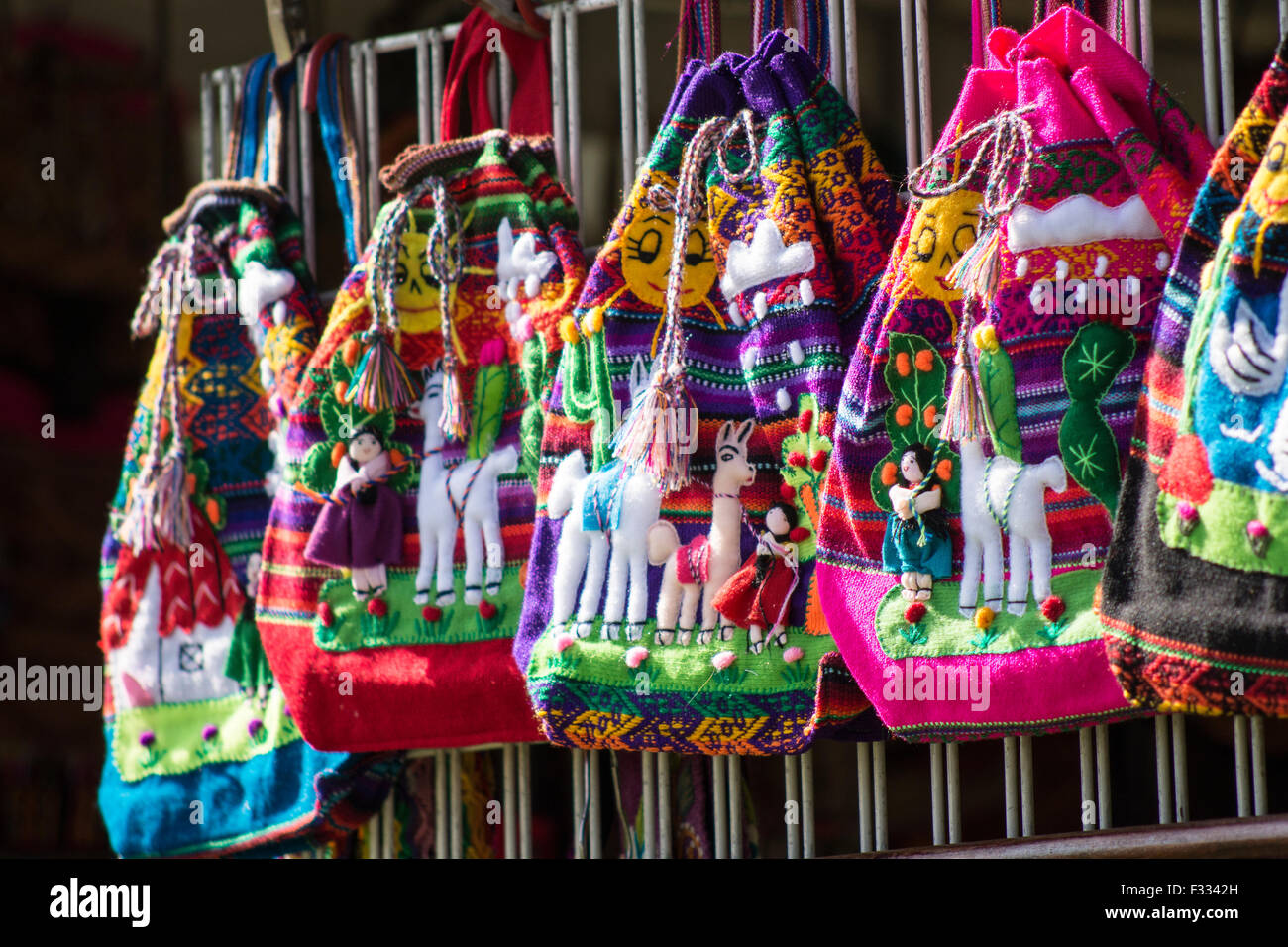 Example of hand bags made by artisans from Peru. - Stock Image
