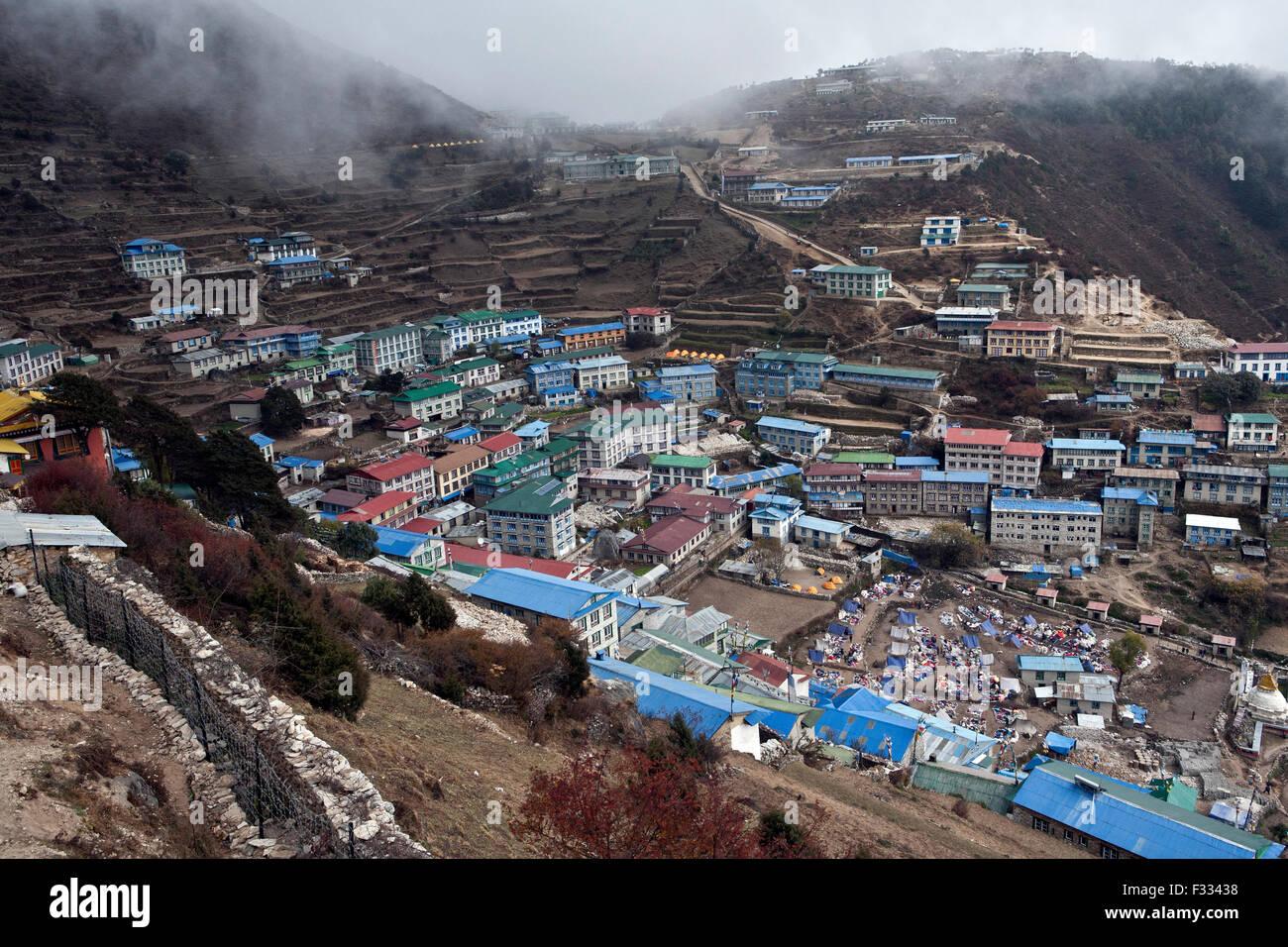 Namche Bazaar village in Everest Valley Nepal - Stock Image