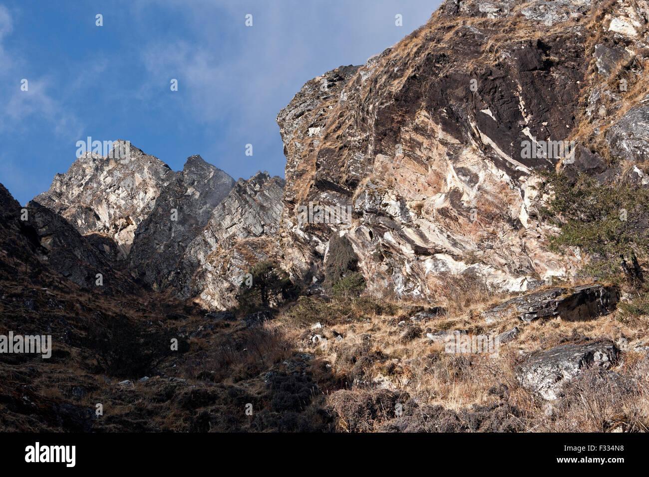 Eroded rocks seen in Khumbu region Nepal - Stock Image
