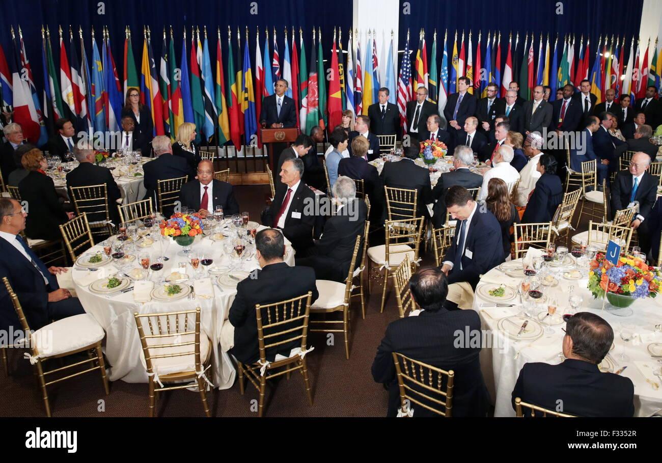 New York, Usa. 28th Sep, 2015. Russia's President Vladimir Putin and UN Secretary General Ban Ki-moon (R-L seated Stock Photo