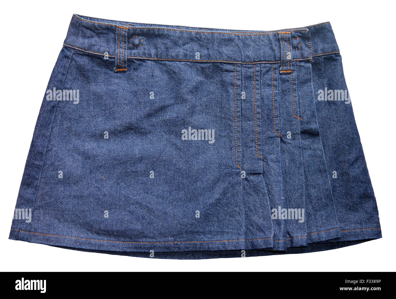 Blue denim skirts - Stock Image