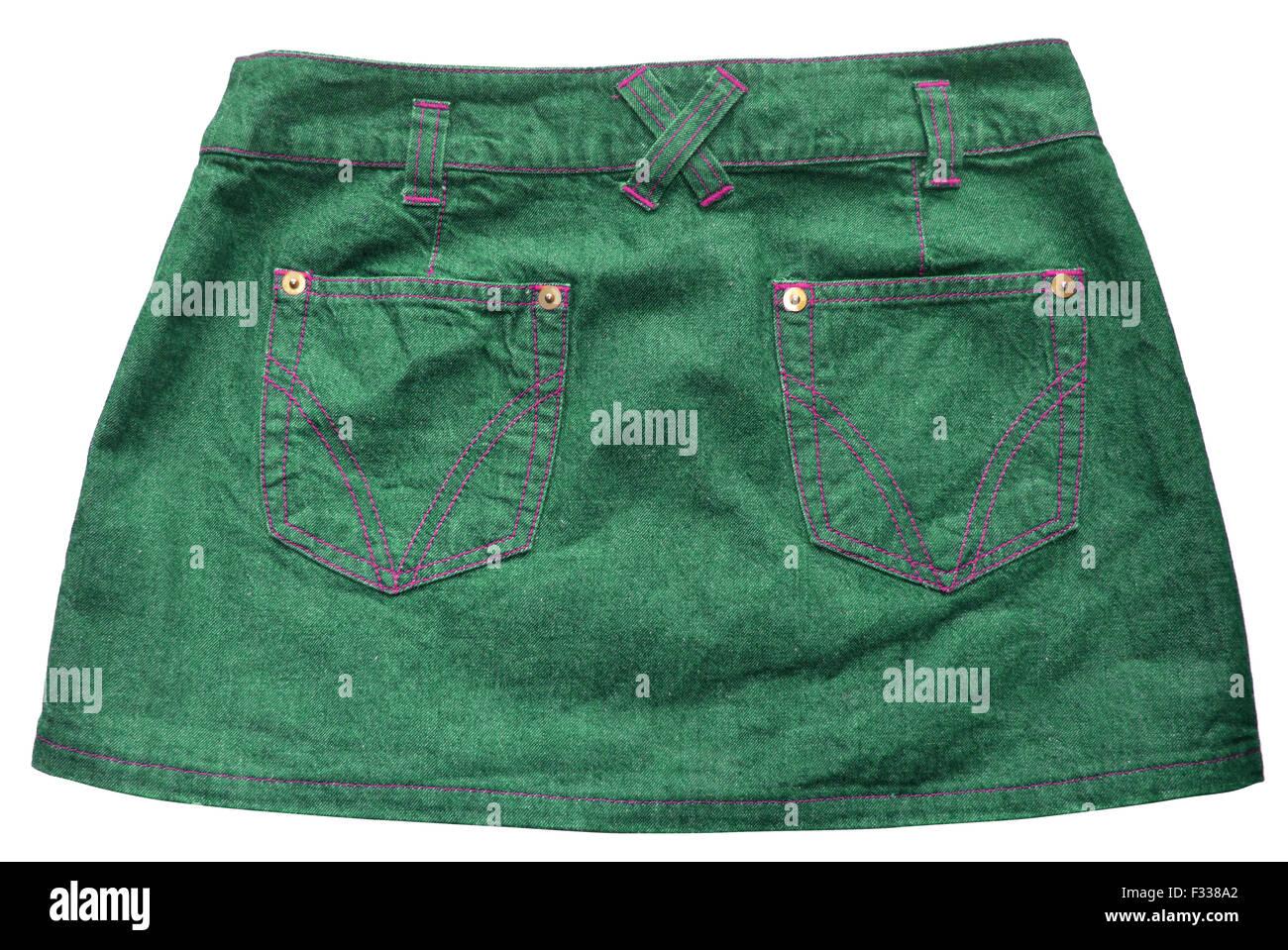Green denim skirts - Stock Image