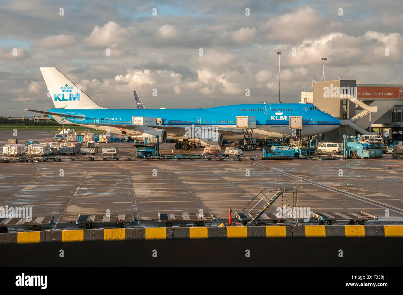 KLM Boeing 747 Jumbo jet at Schipol airport Amsterdam. - Stock Image