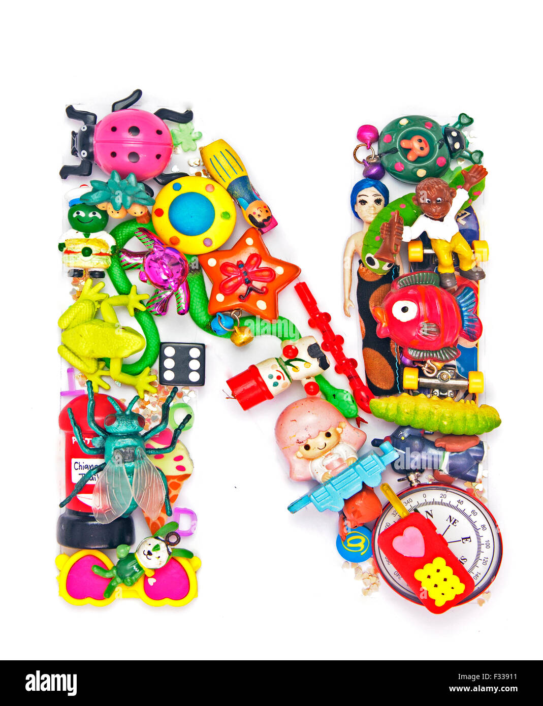 The Letter N Made From Small Toys Stock Photo 87968749 Alamy