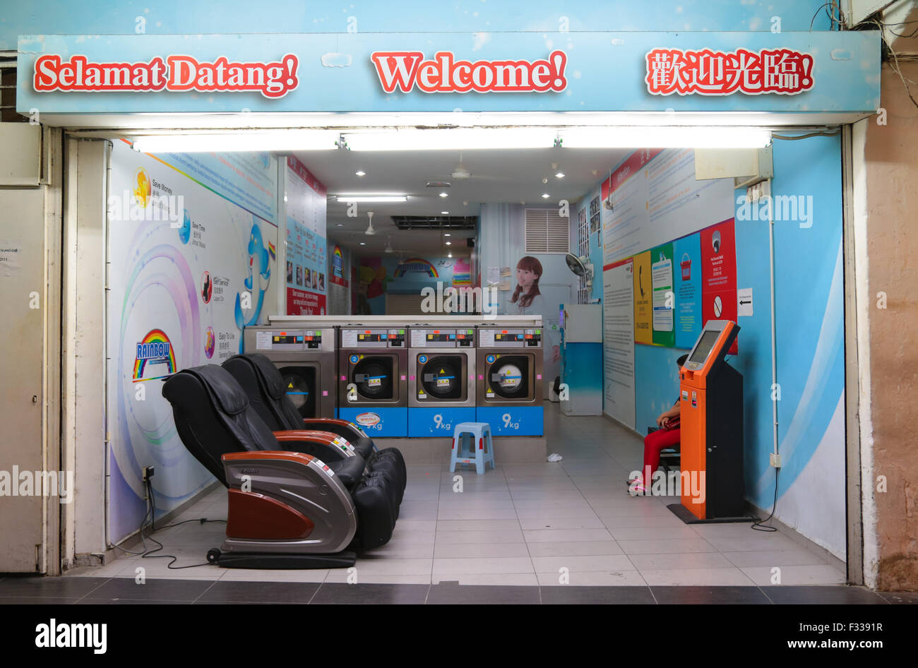 Laundry shop stock photos laundry shop stock images alamy selft service laundry shop at chinatown petaling street kuala lumpur malaysia stock solutioingenieria Images
