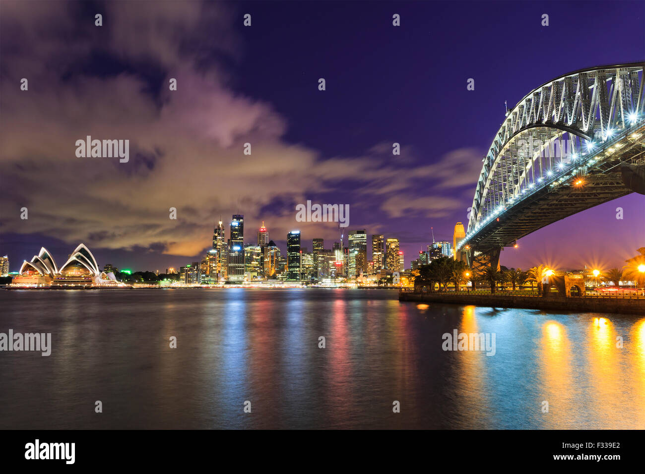 Sydney city CBD in Australia as twilight from across the Harbour with Bridge and skyscrapers landmarks - Stock Image