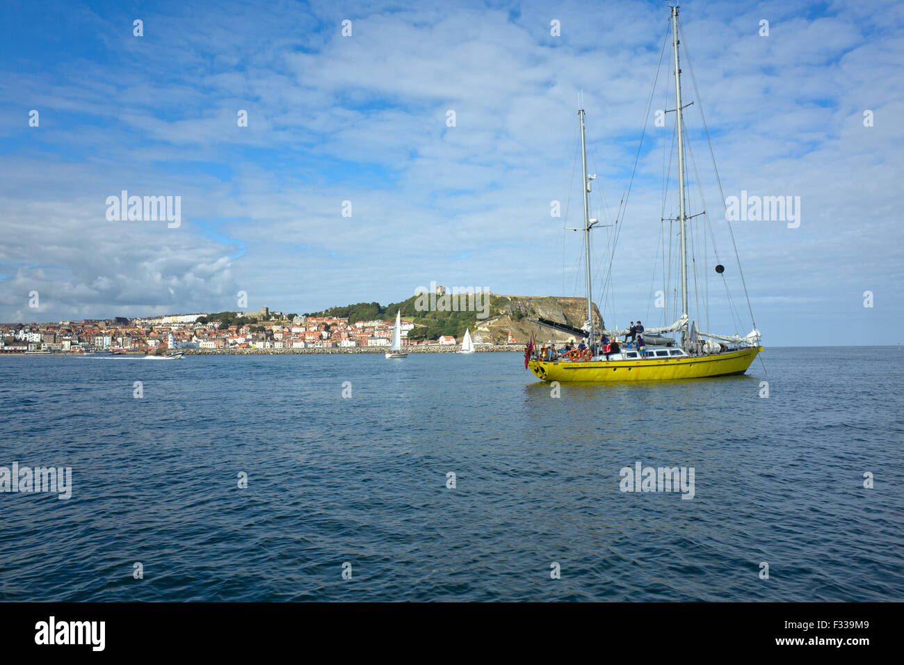 James Cook OYT Ocean Youth Trust Vessel, anchored off Scarborough - Stock Image