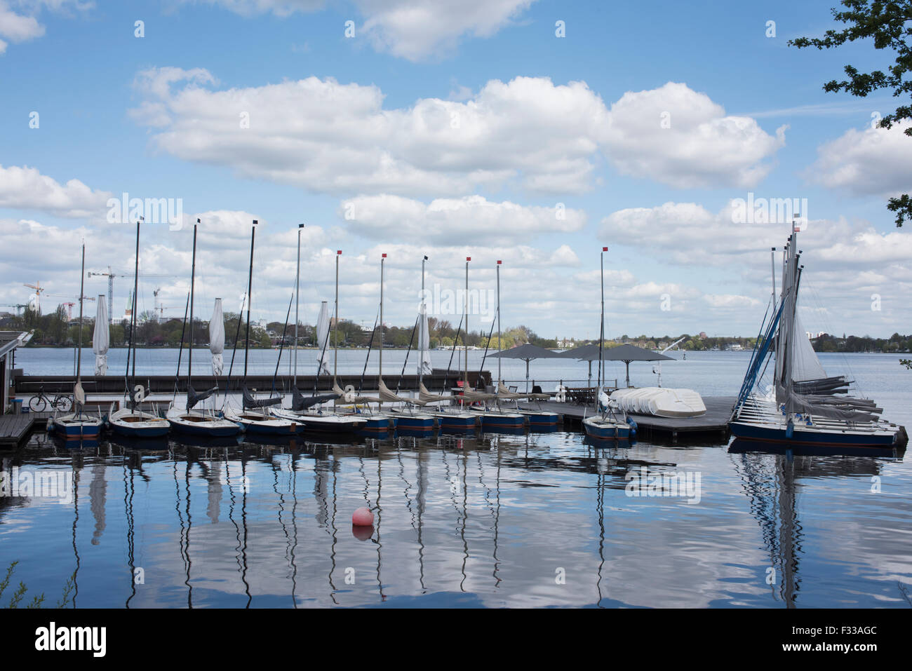 View across the Aussen Alster, the large lake in Hamburg, Germany. - Stock Image