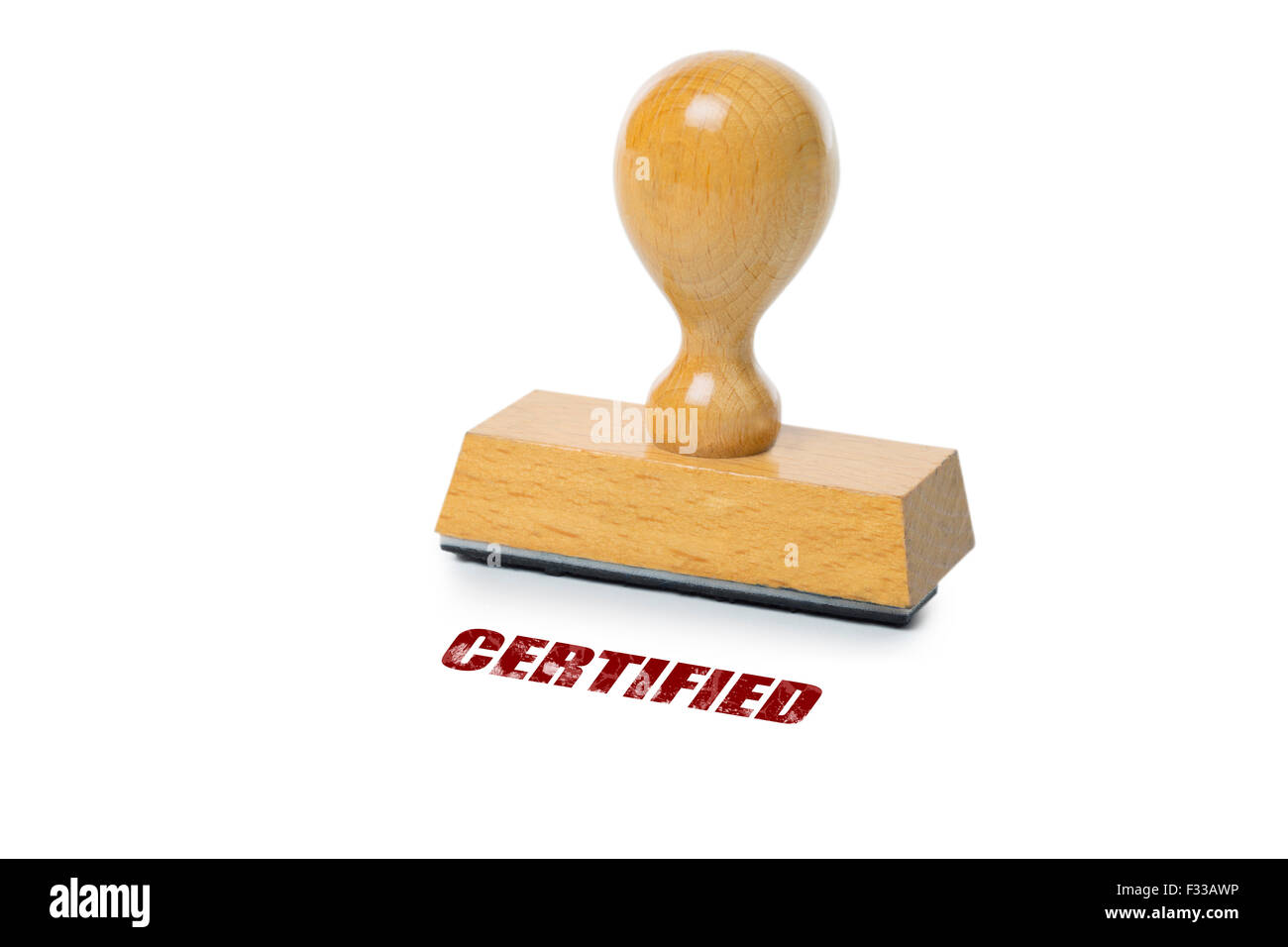 Certified printed in red ink with wooden Rubber stamp isolated on white background Stock Photo