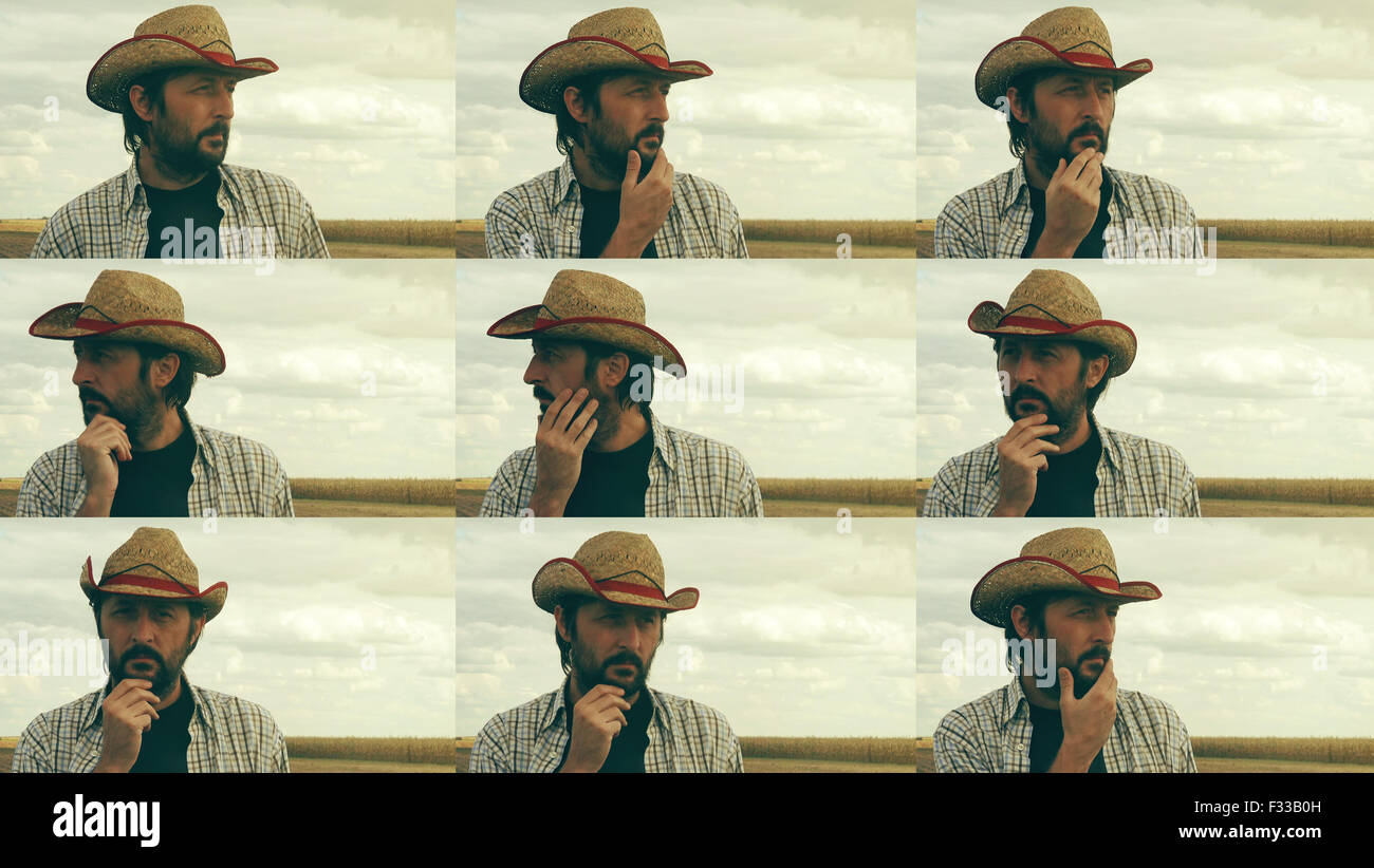 Concerned farmer planning new seeding season, male farmer with straw hat at cultivated field, image sequence collage - Stock Image