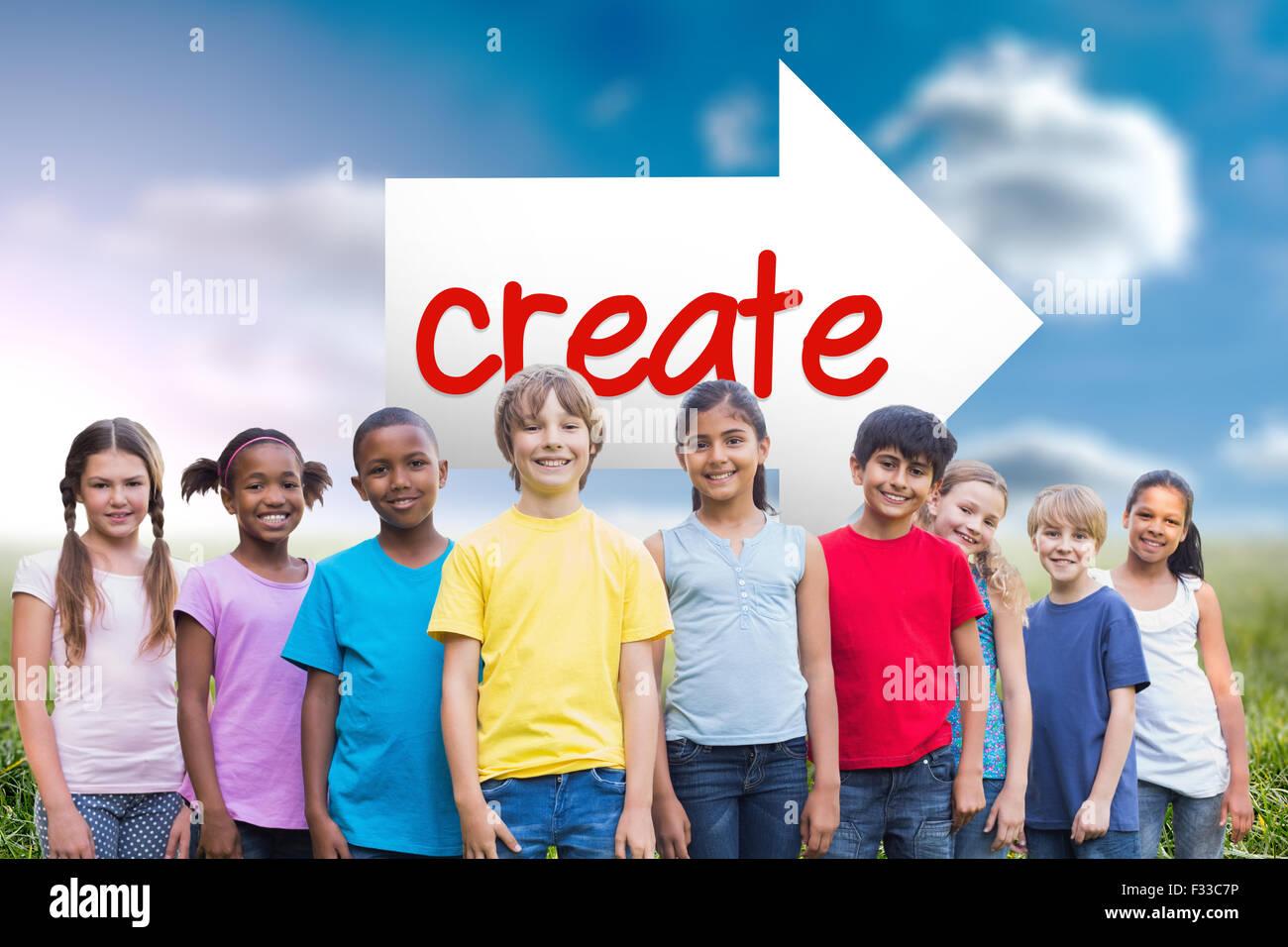 Create against sunny landscape - Stock Image