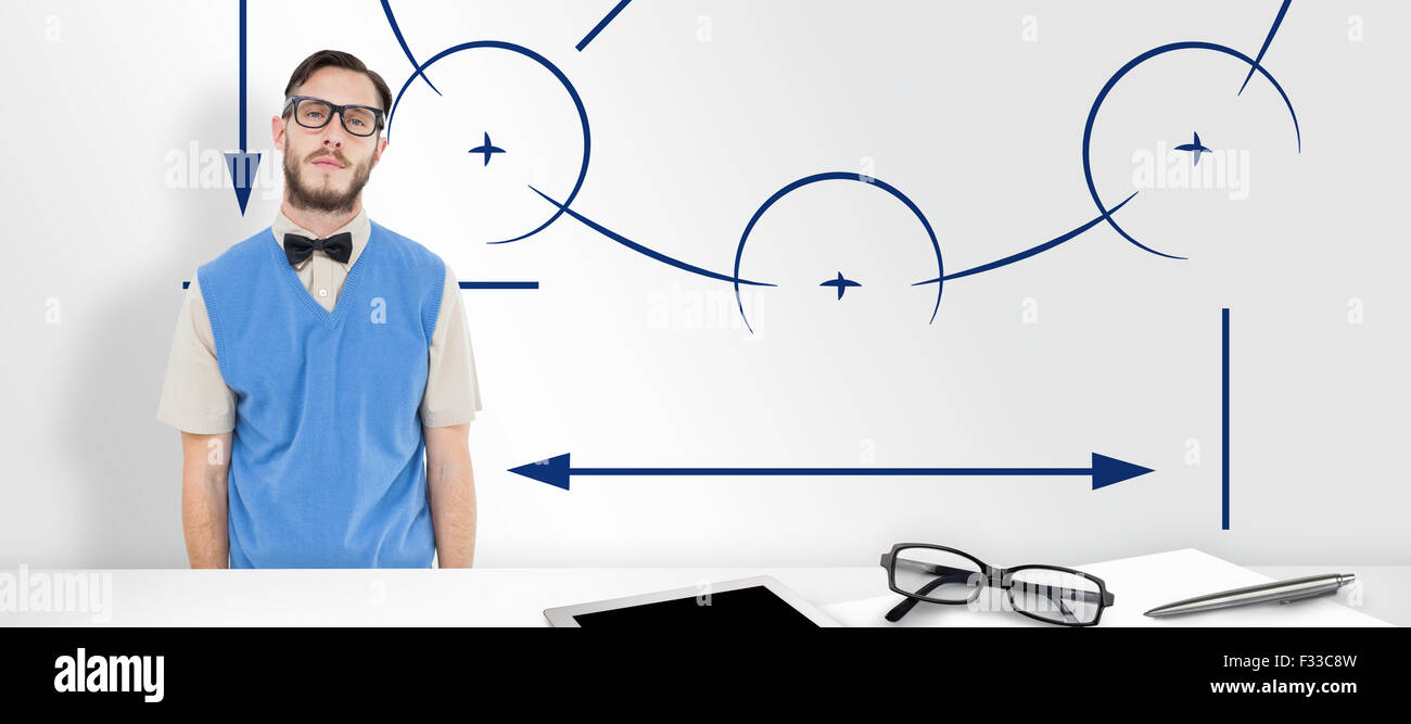 Composite image of geeky hipster wearing sweater vest - Stock Image