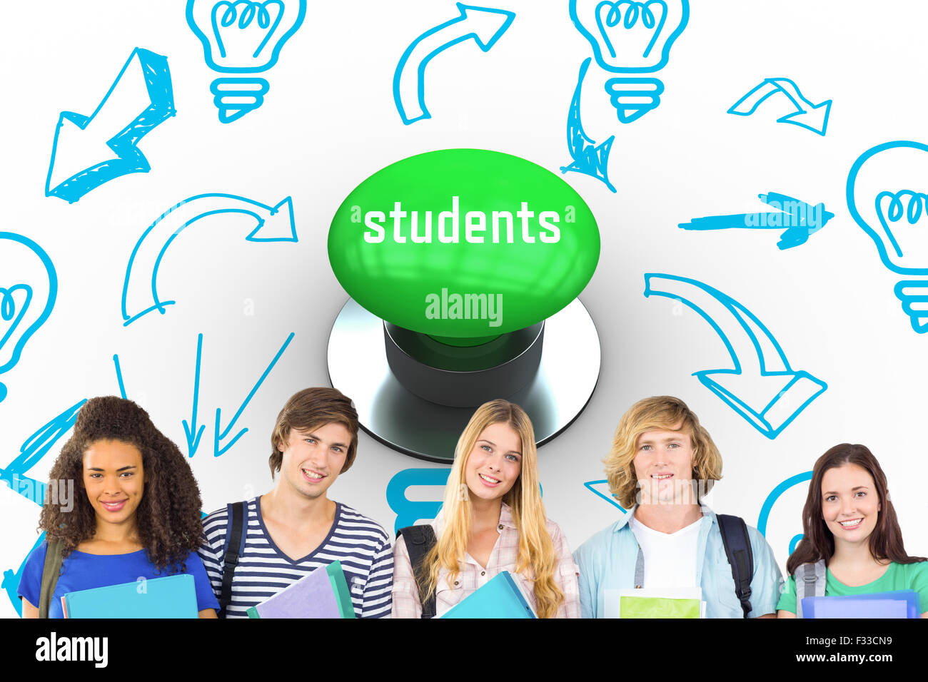 Students against digitally generated green push button Stock Photo