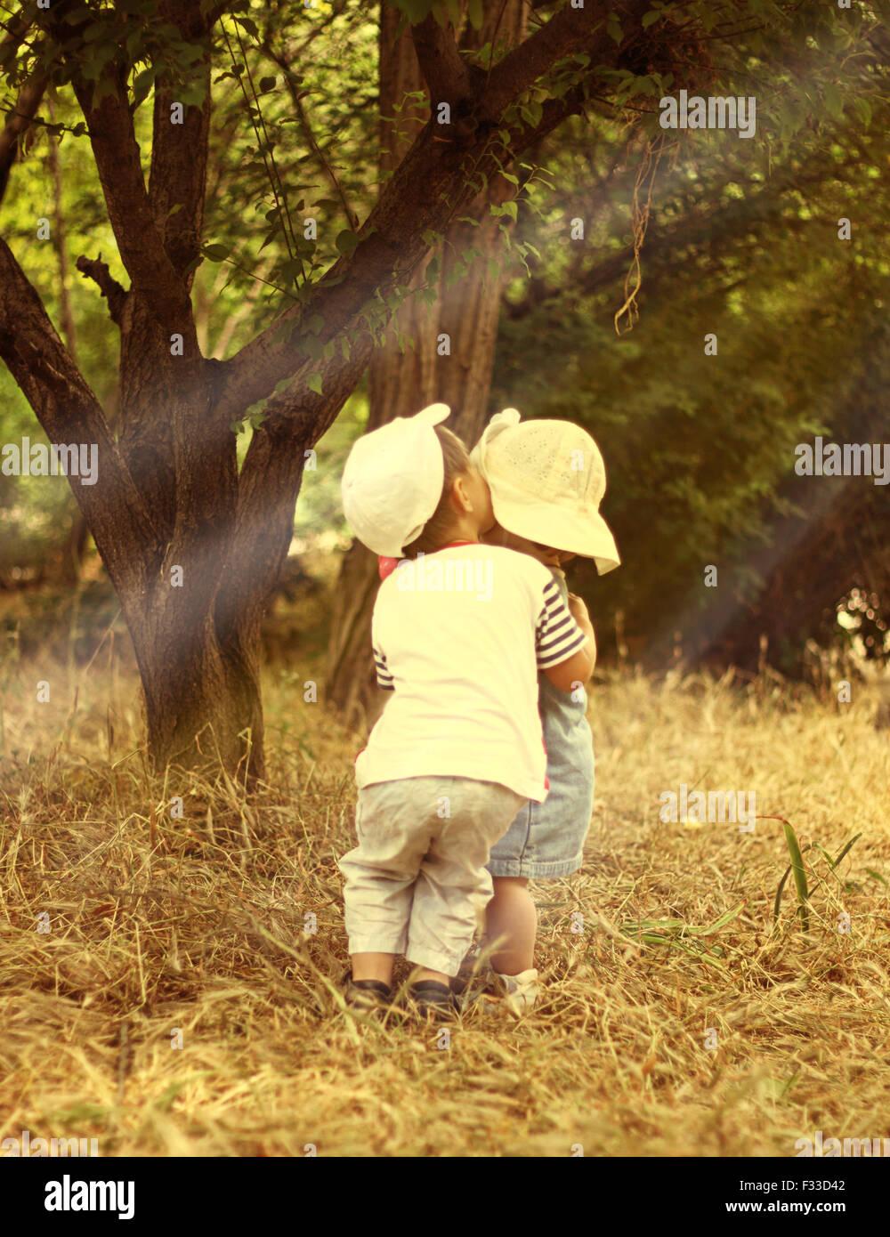 Children's secrets. - Stock Image