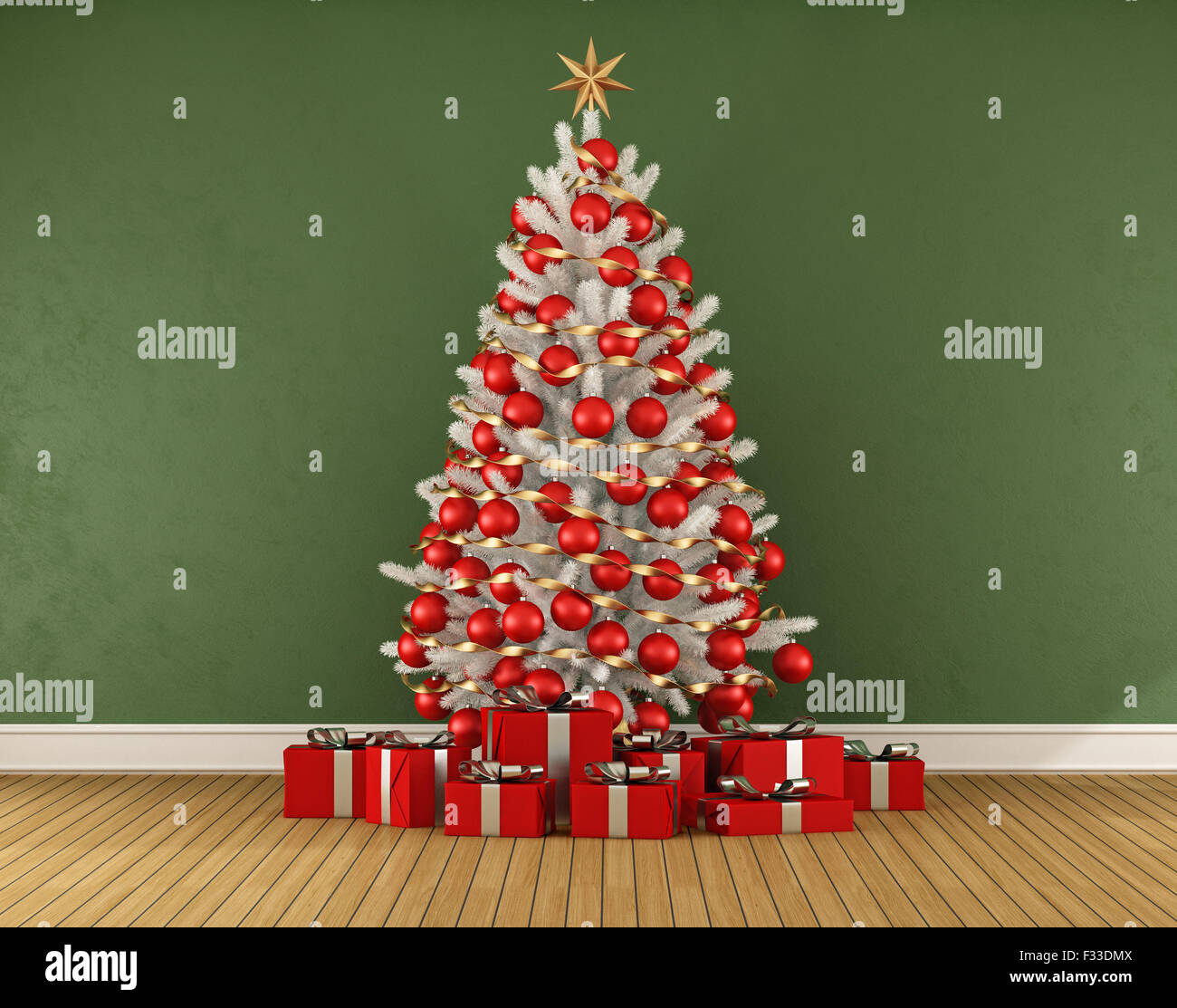 Green room with white christmas tree with red decoration - 3D Stock ...