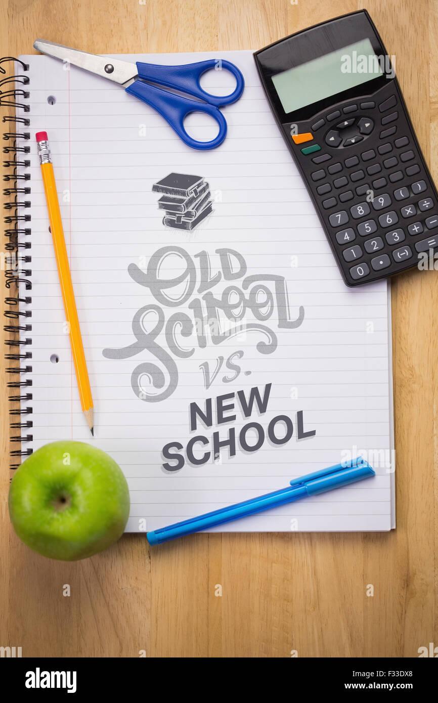 Composite image of old school vs new school - Stock Image