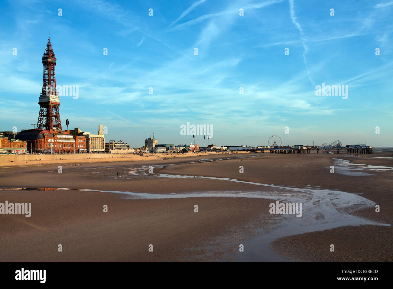 Blackpool Tower - The beach at low tide at Blackpool on the northwest coast of England. - Stock Image