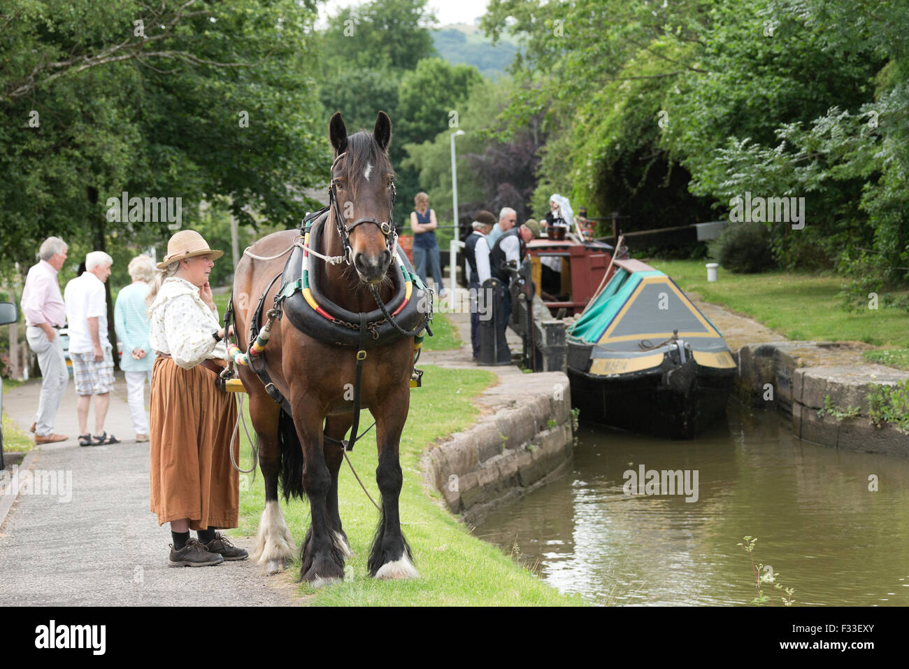 Horse Tow Boat Narrow Coal Stock Photos Harness England English Europe Image