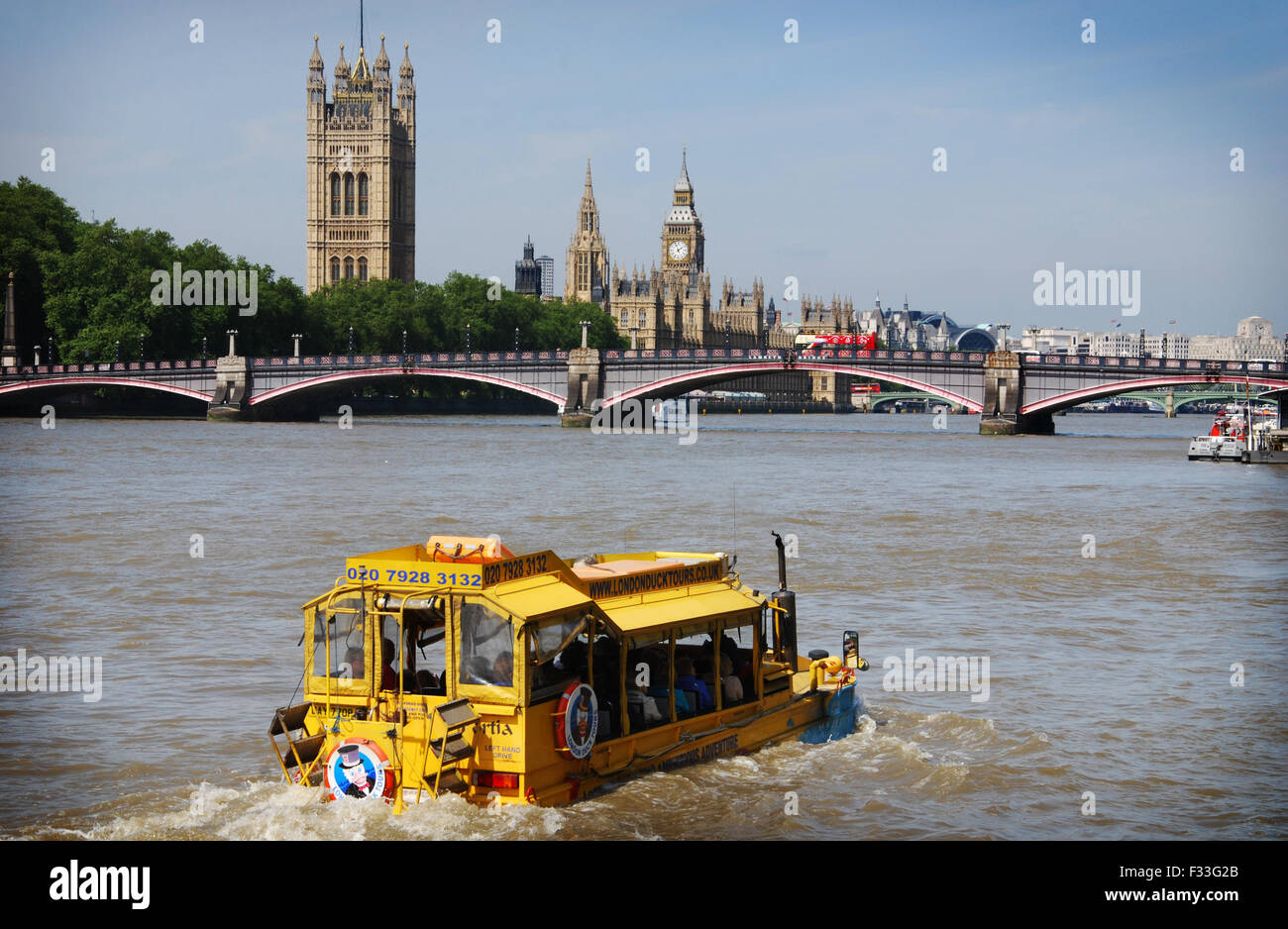 Duck Tours of London, Amphibious vehicle in the river Thames, London UK - Stock Image