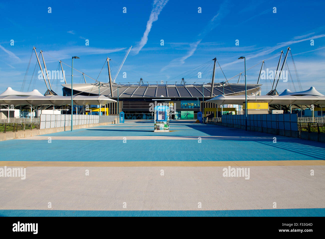 City of Manchester Stadium (commonly known as Etihad Stadium) in Sports City, Manchester, United Kingdom. - Stock Image