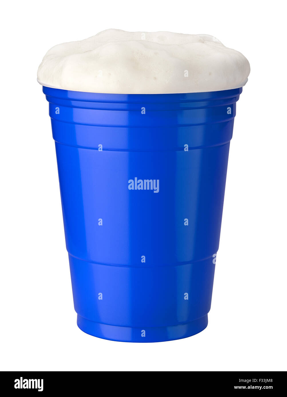 Beer in a Blue Plastic Cup isolated on white - Stock Image