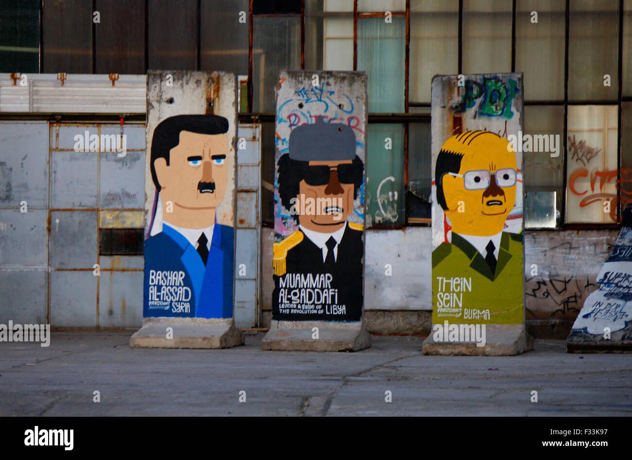 Baschar Hafiz al-Assad (Syrien), Muammar al-Gaddafi (Libyen), Thein Sein (Myanmar/ Laos) - Mauerstuecke, auf die - Stock Image