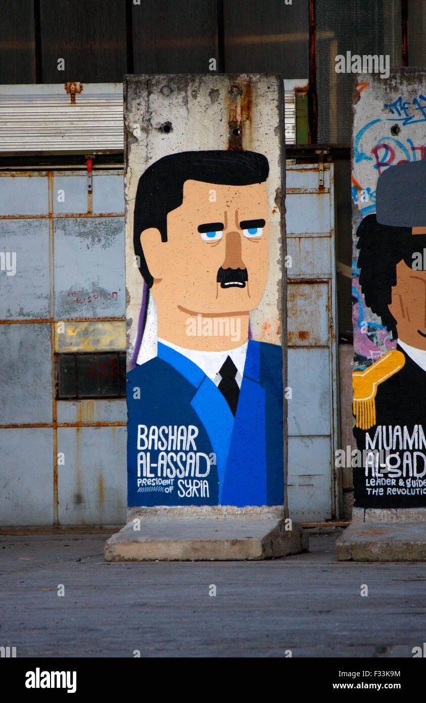 Baschar Hafiz al-Assad (Syrien) - Mauerstuecke, auf die aktuelle oder juengst abgesetzte bzw. verstorbene Diktatoren - Stock Image