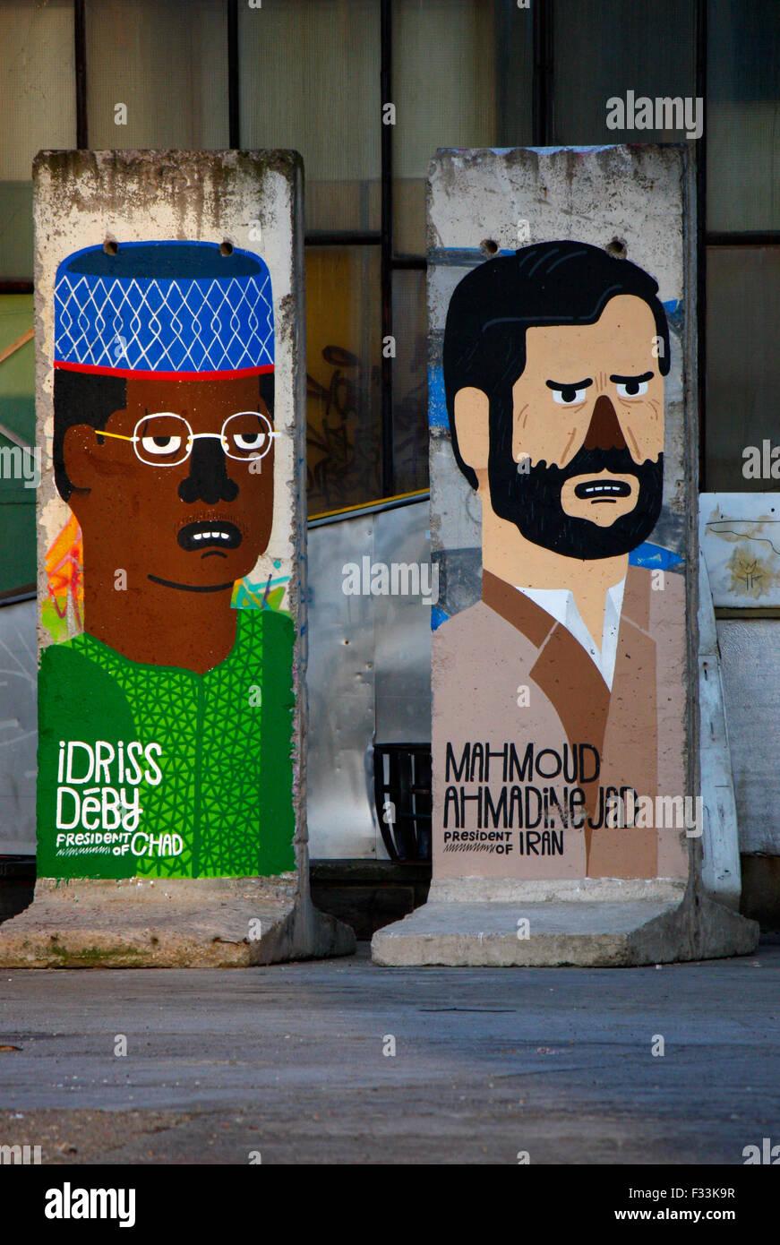 Idriss Deby (Tschad/ Chad), Mahmud Ahmadinedschad (Iran) - Mauerstuecke, auf die aktuelle oder juengst abgesetzte - Stock Image